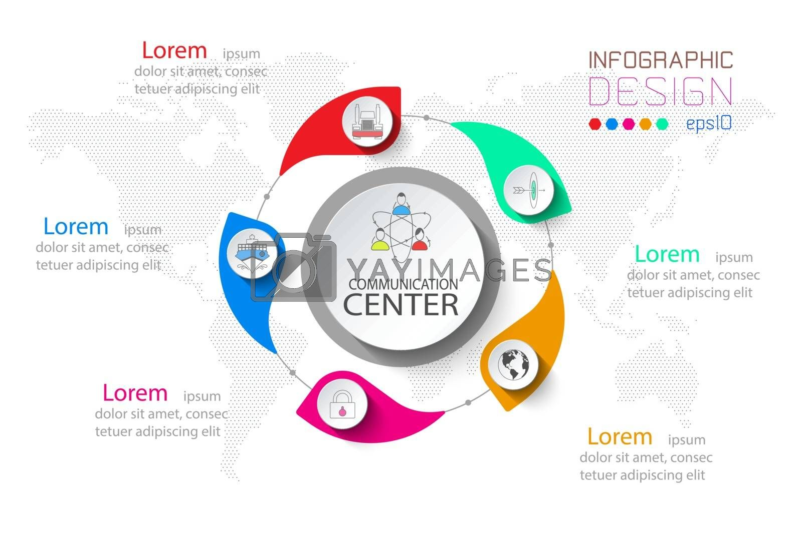 5 step business infographic in circle and big one at centerpoint.
