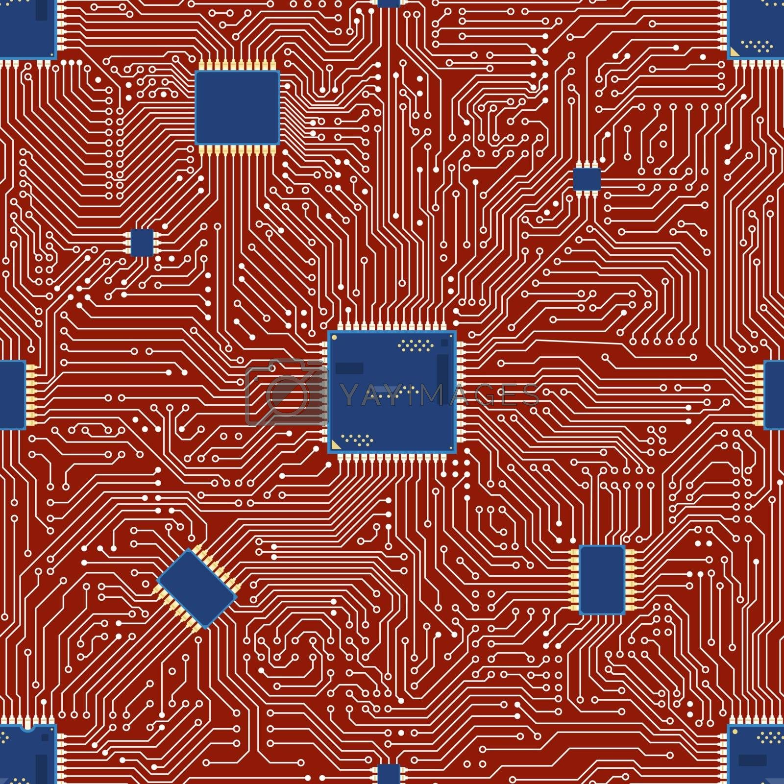 EPS vector motherboard abstract seamless background.