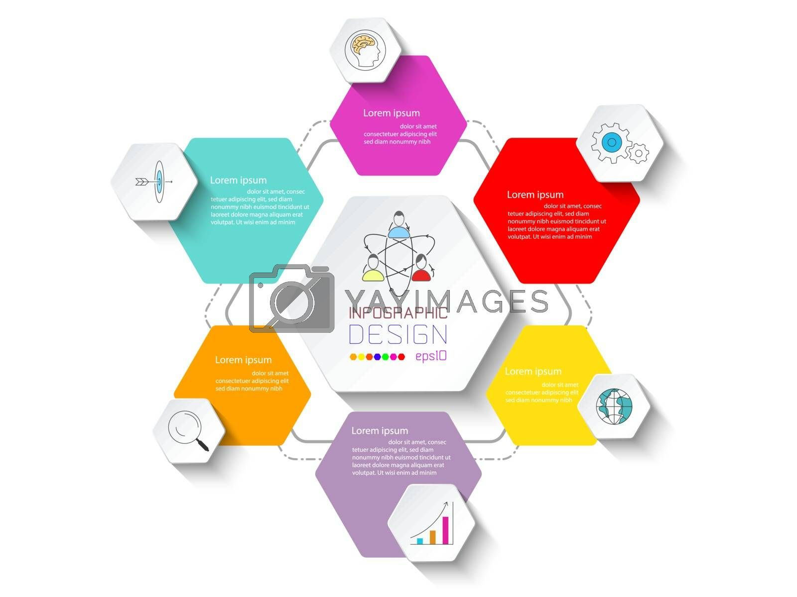 Business infographic with 6 steps.