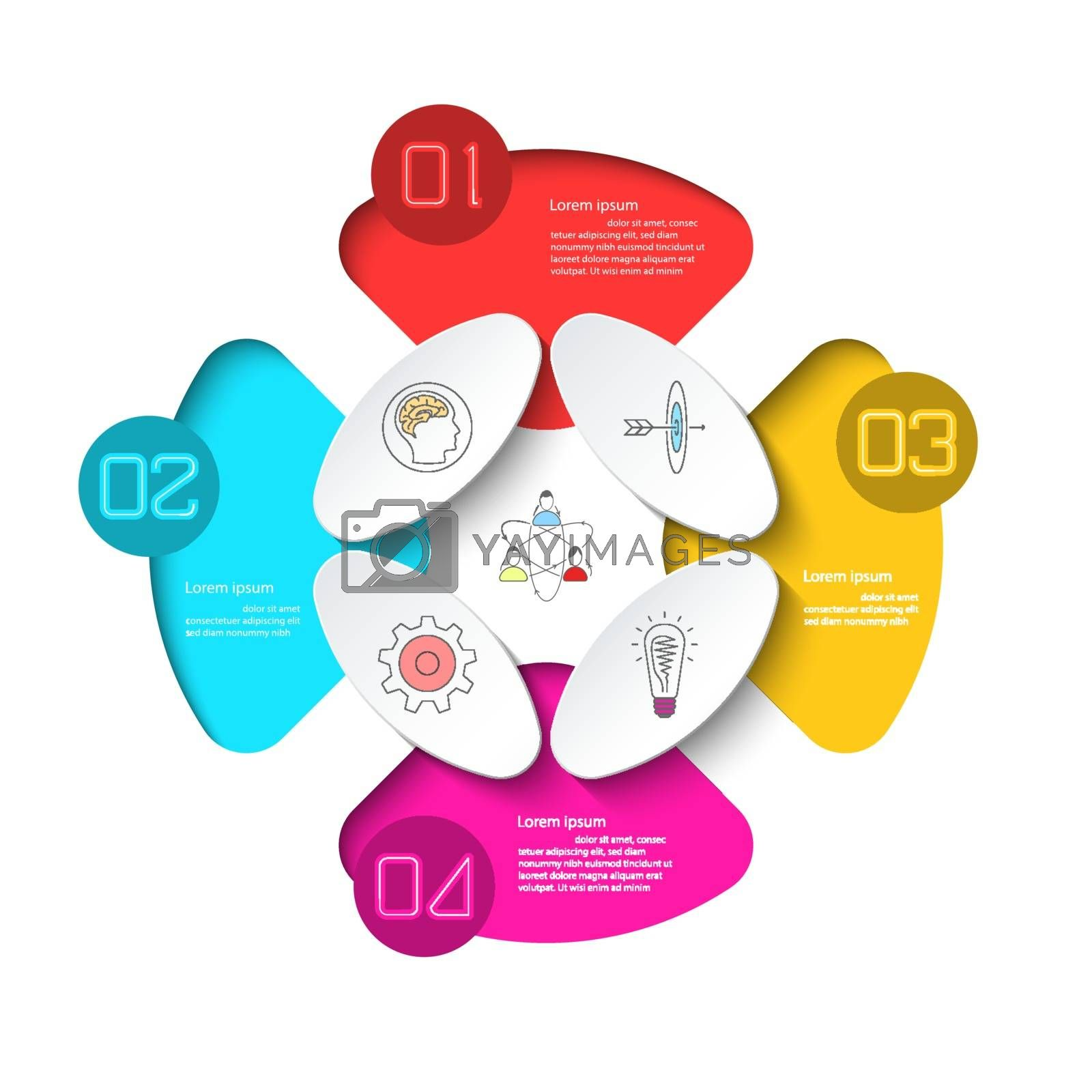Business infographic with 4 steps.
