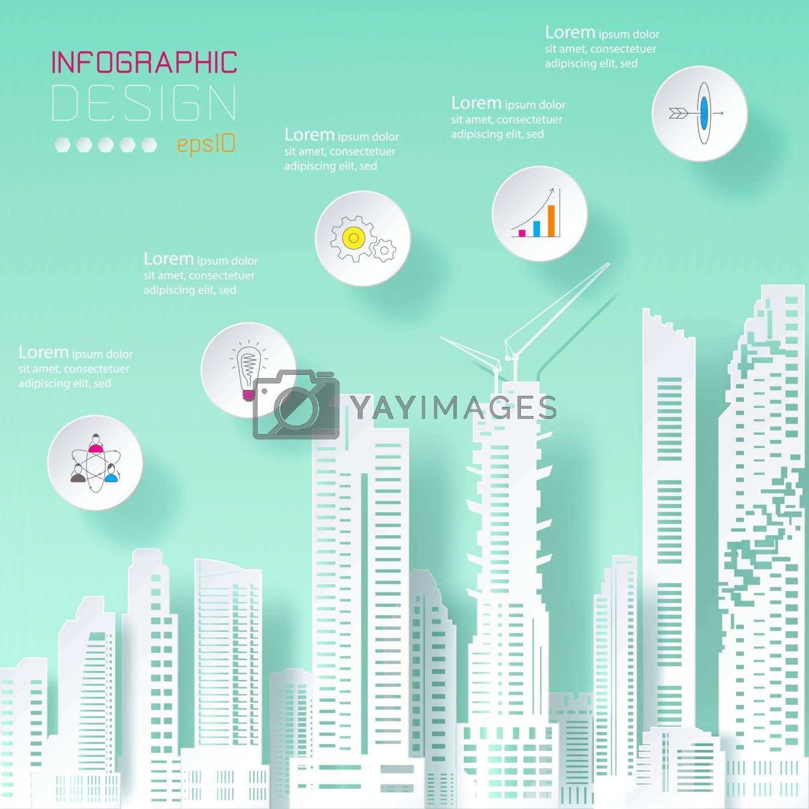 Business infographic on building concept.