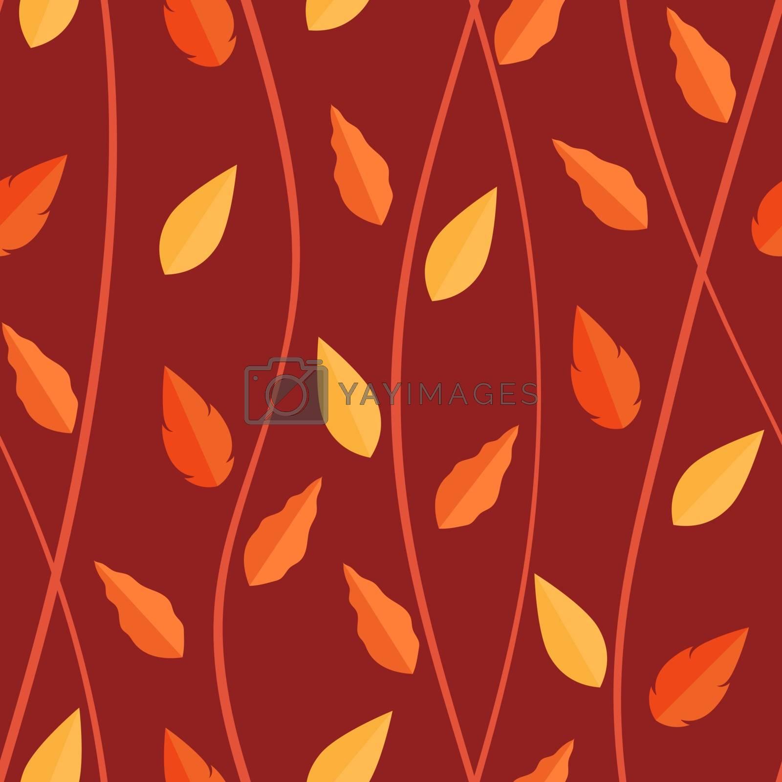 Orange leaves pattern on seamless background