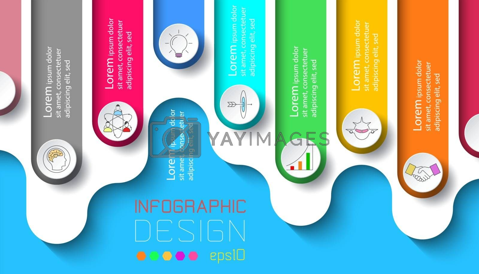 Seven labels with business icon infographics.