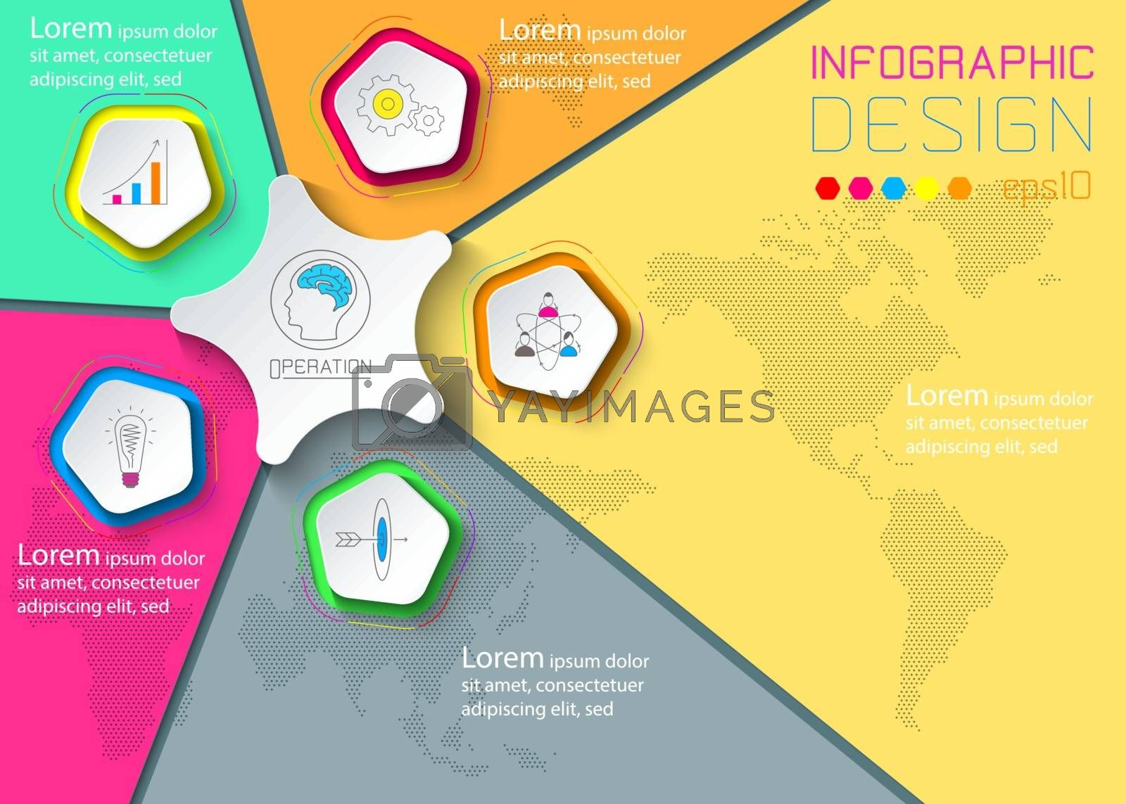 Five circles with business icon infographics on world map background.
