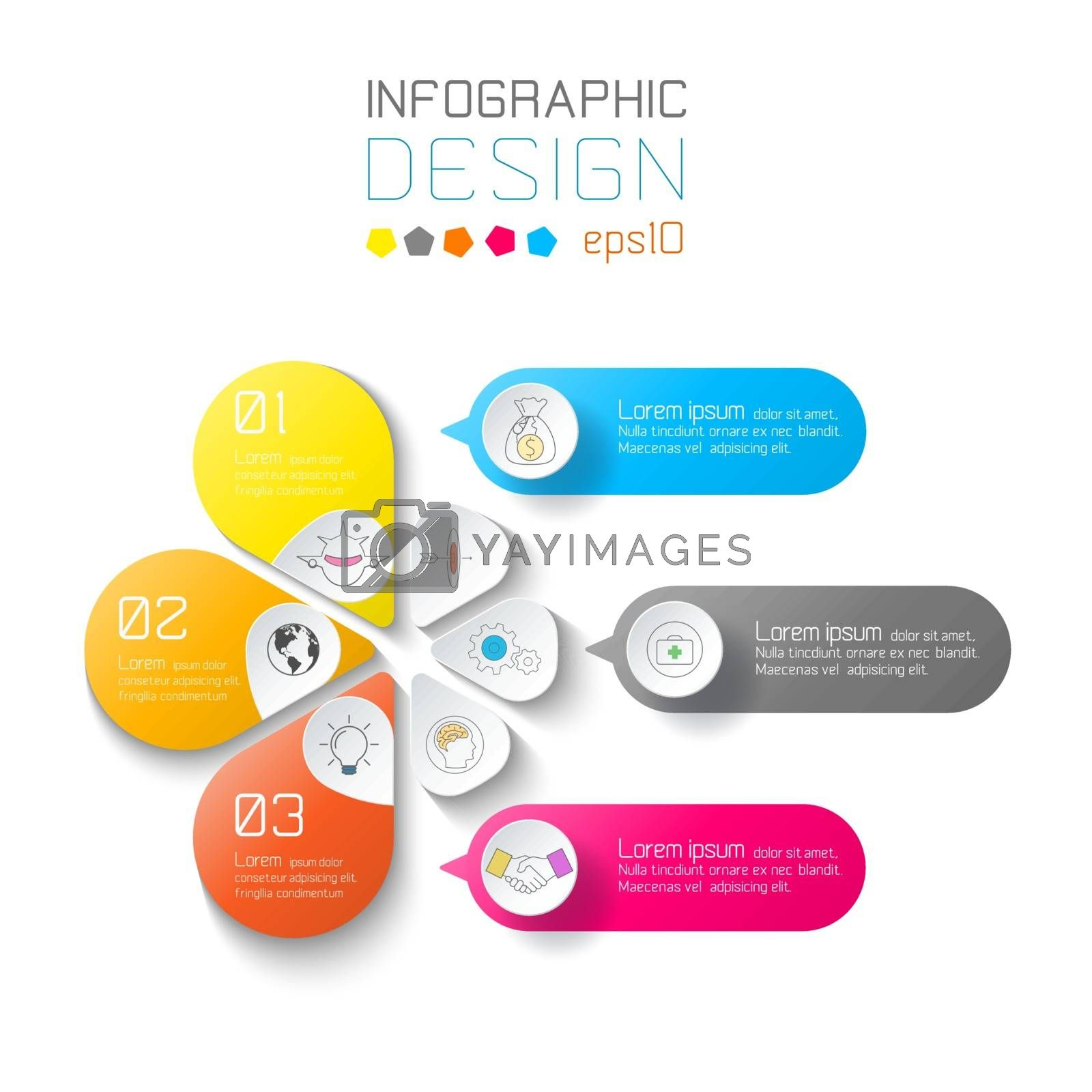 Business labels infographic on two layers circles bar.
