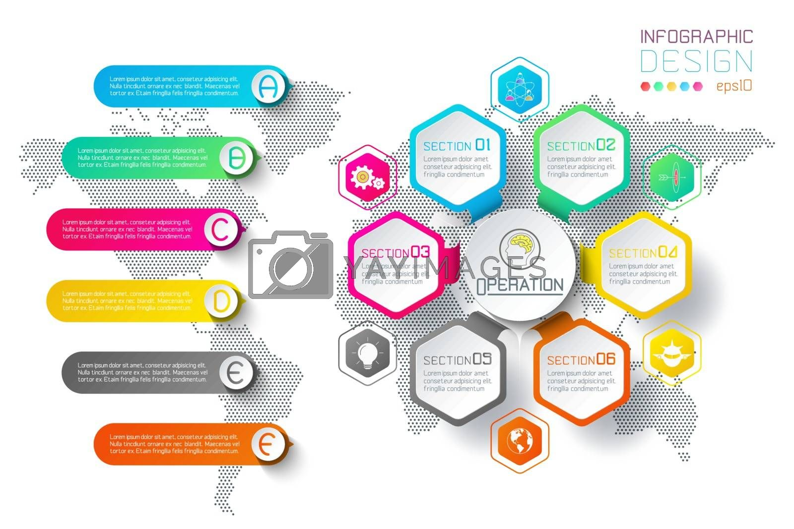 Business hexagon labels shape infographic circles bar. by narinbg