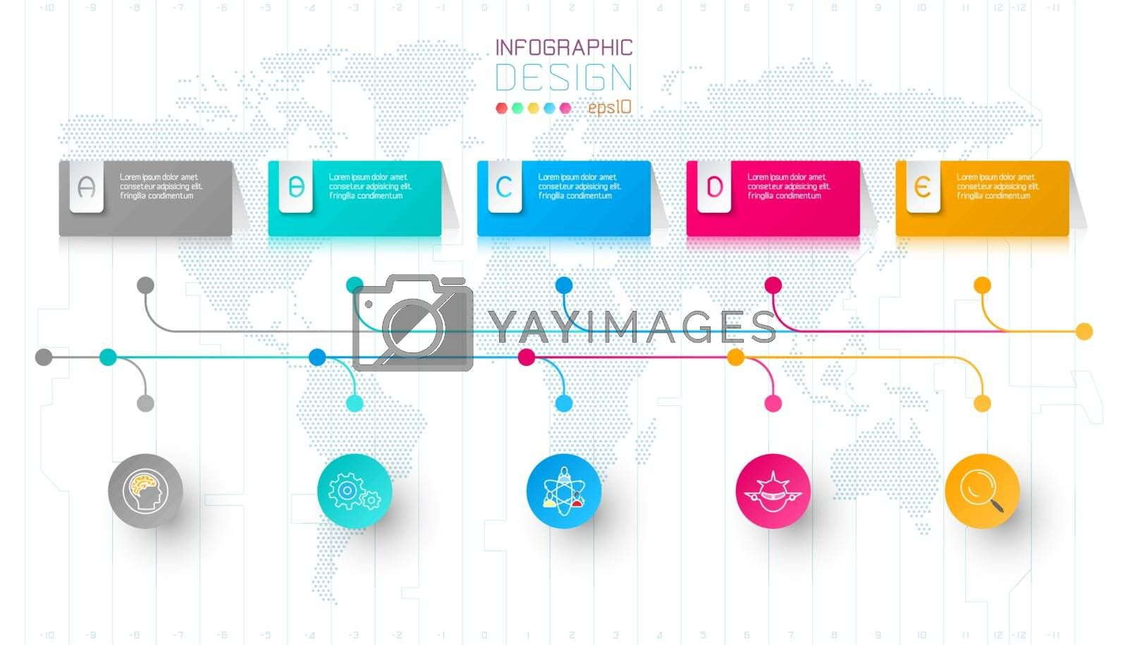 Colorful business rectangle labels shape infographic horizontal bar. by narinbg