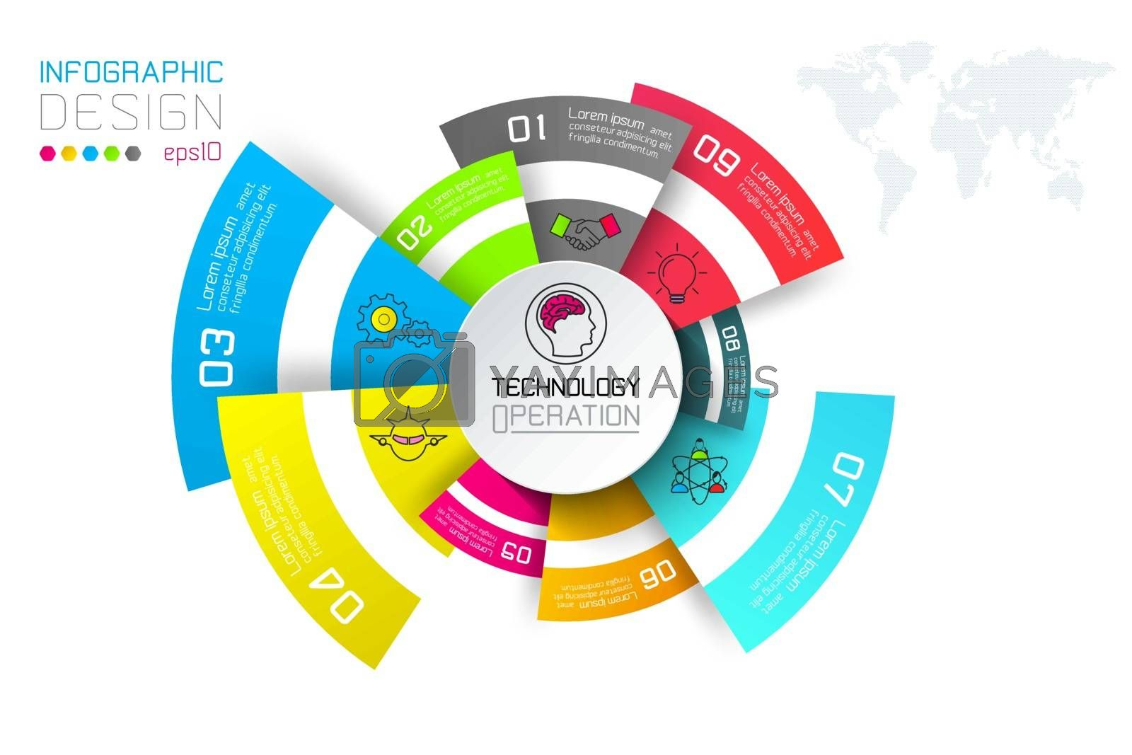 Business labels infographic on circles bar.