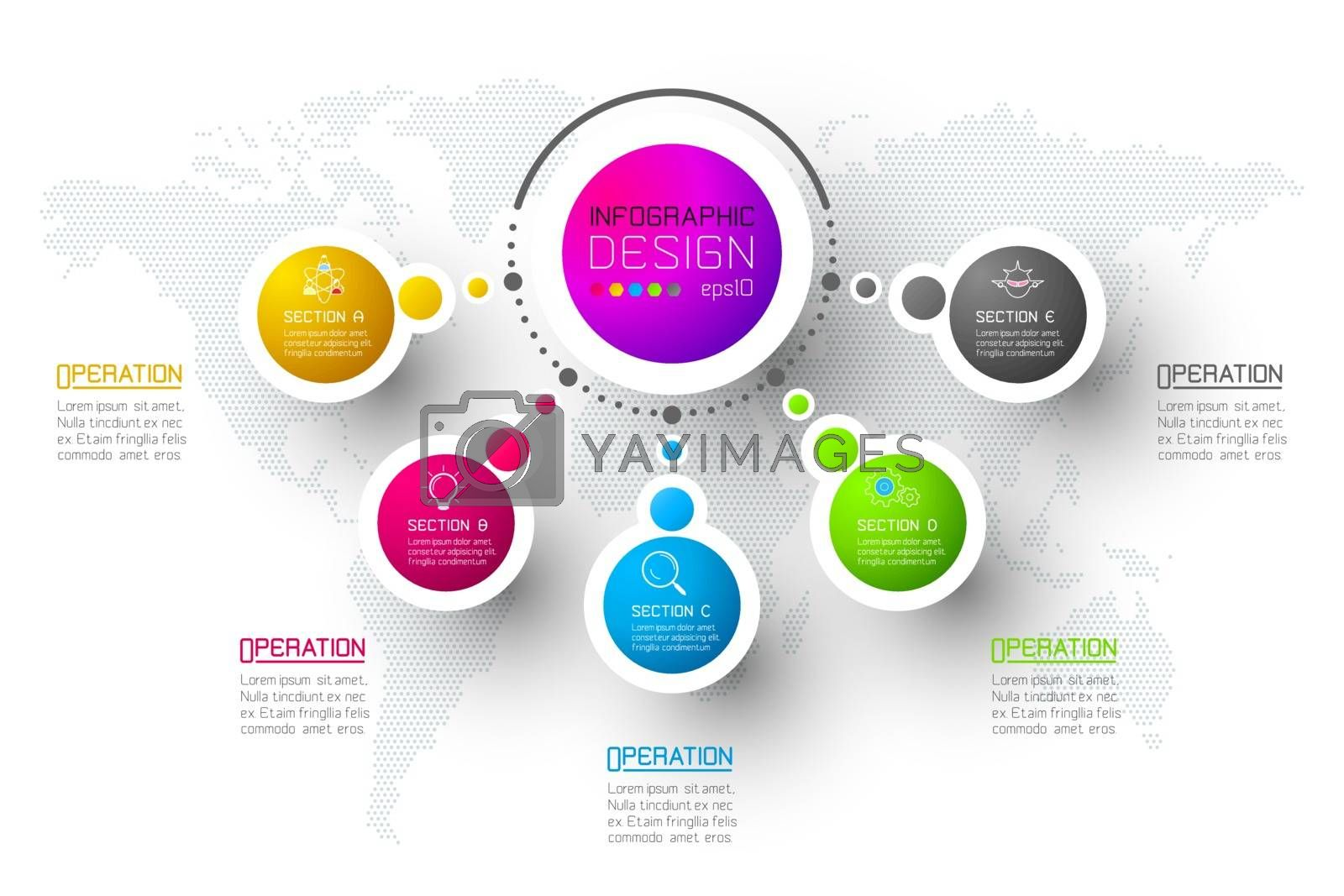 Abstract business infographics step options template. by narinbg