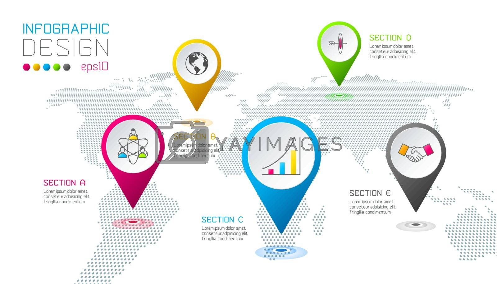 Business pointing labels shape infographic around the world map.