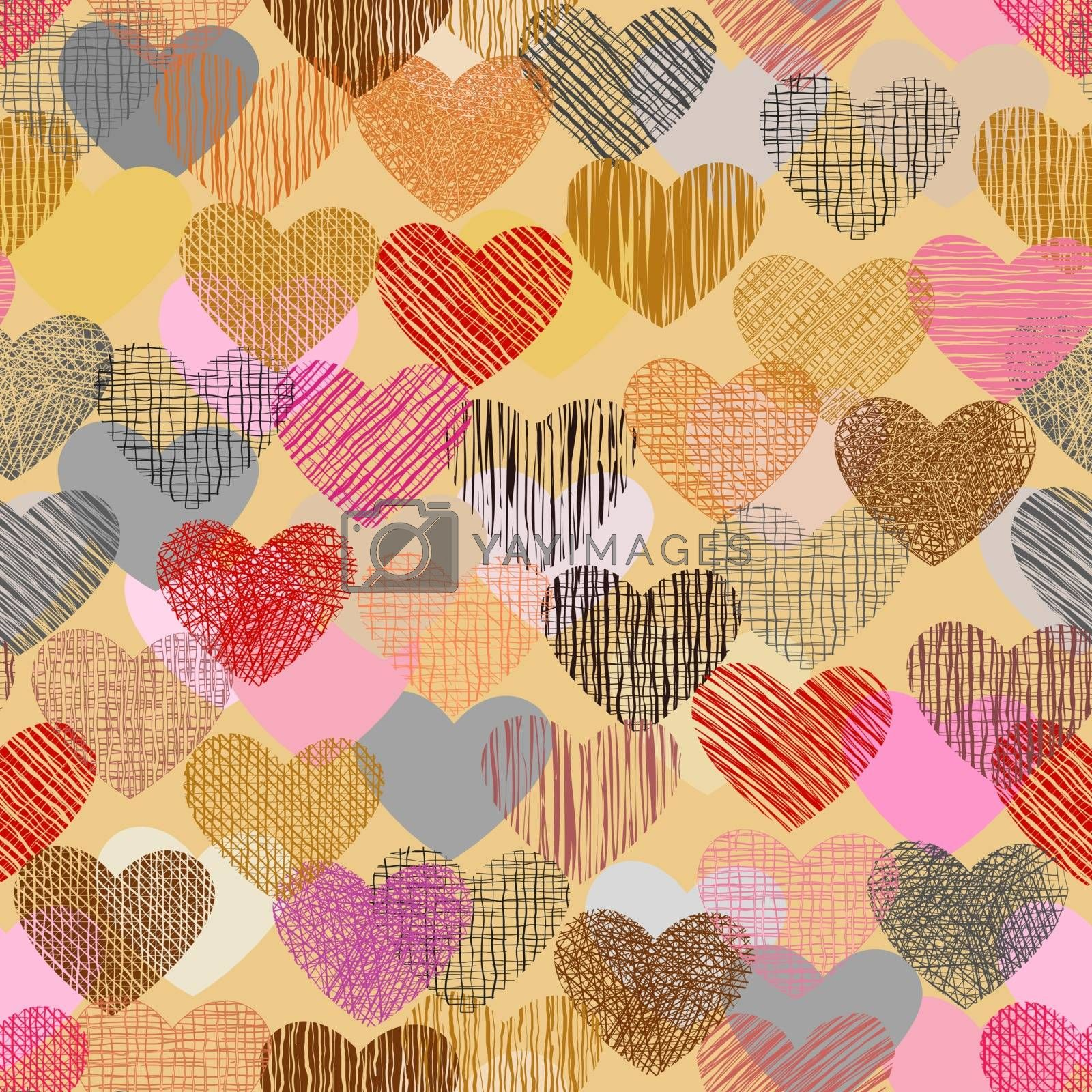 Color doodle in heart shape with seamless background. by narinbg