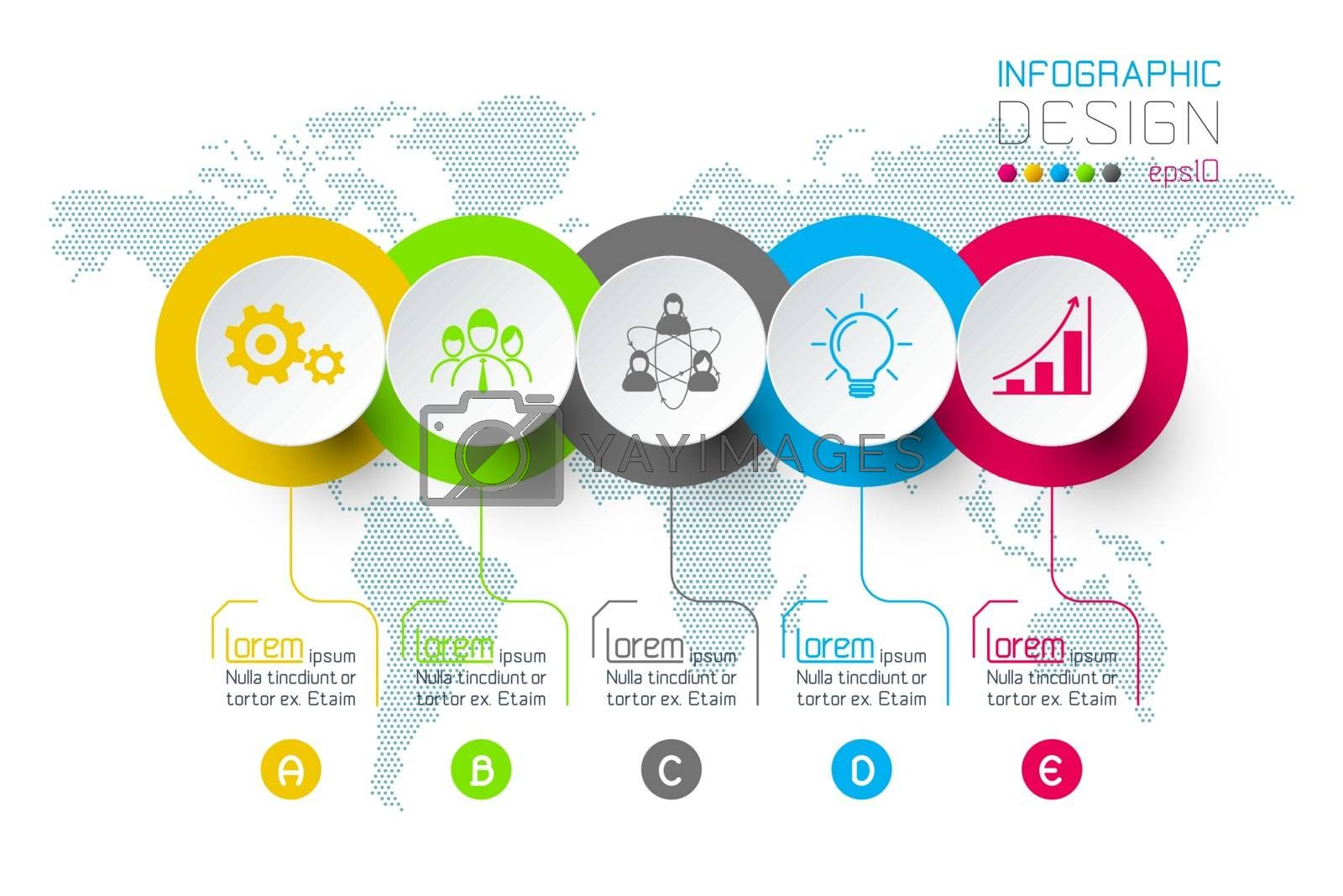 Business hexagon labels shape infographic groups bar. by narinbg