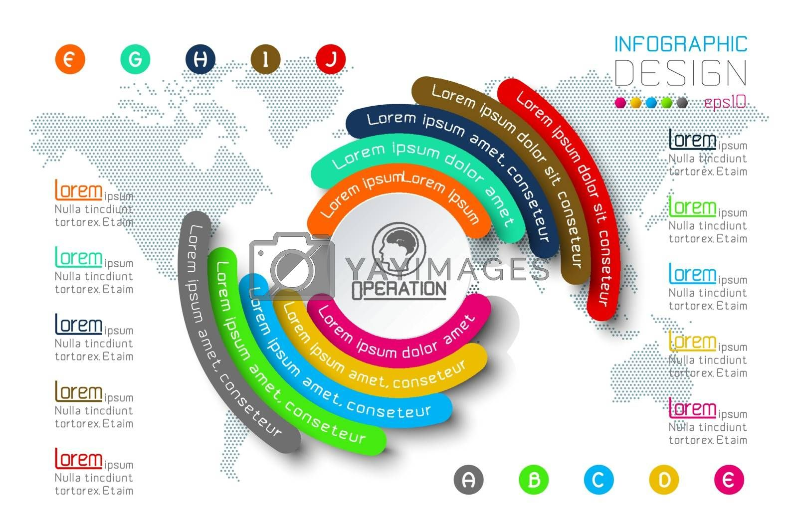 Business Infographics circle origami with shadow style Vector illustration. by narinbg