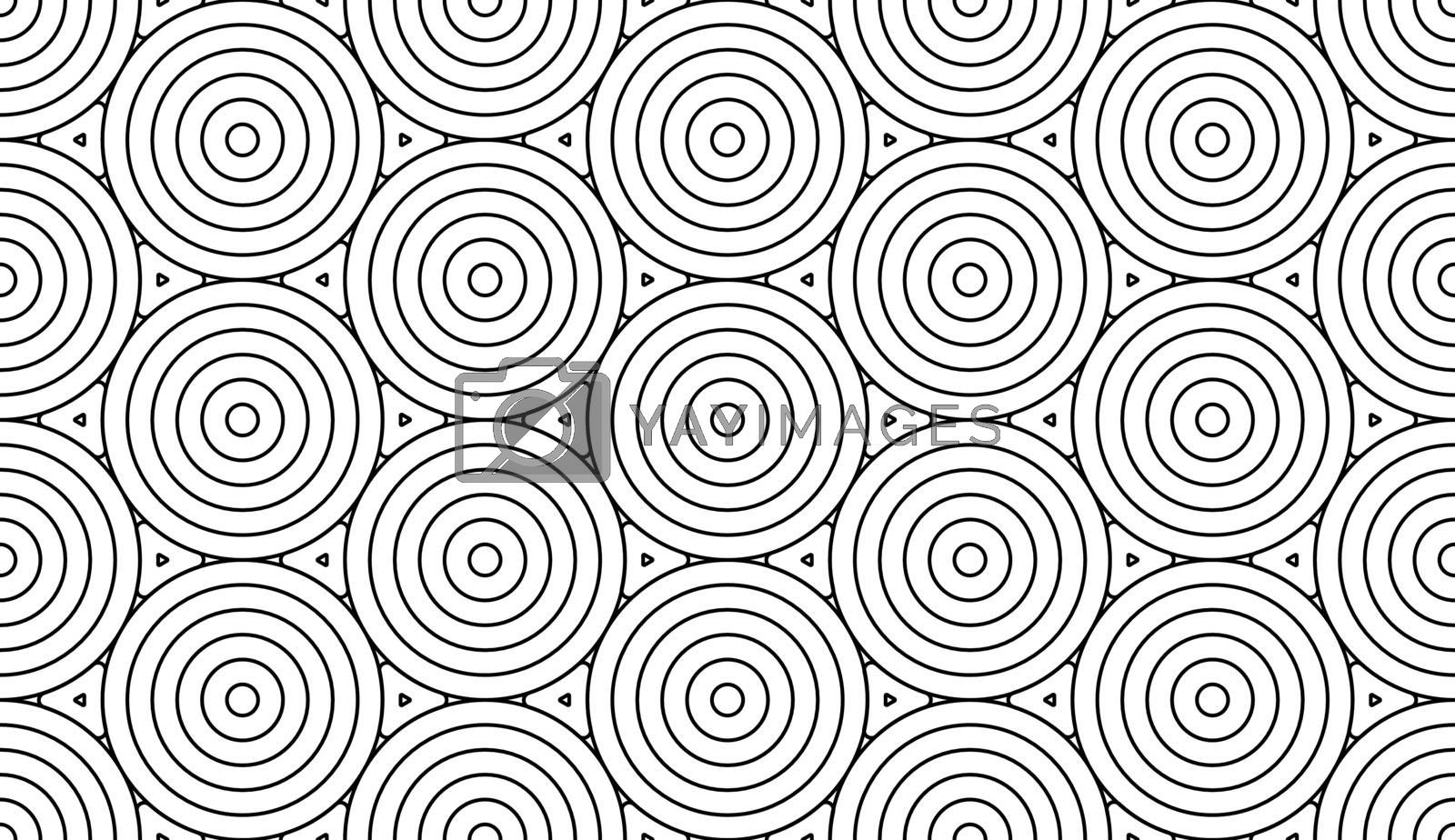Monochrome doodle art deco abstract seamless background with circles stroke line.
