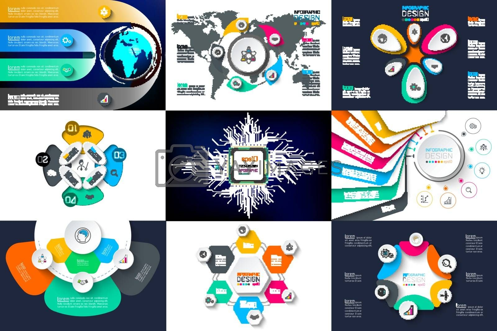 Infographic design vector sets used for workflow layout.