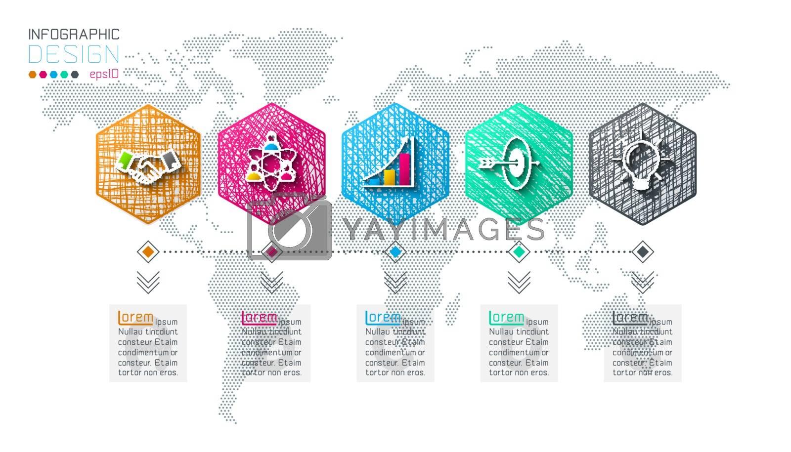 Business hexagon net labels shape infographic bar. by narinbg