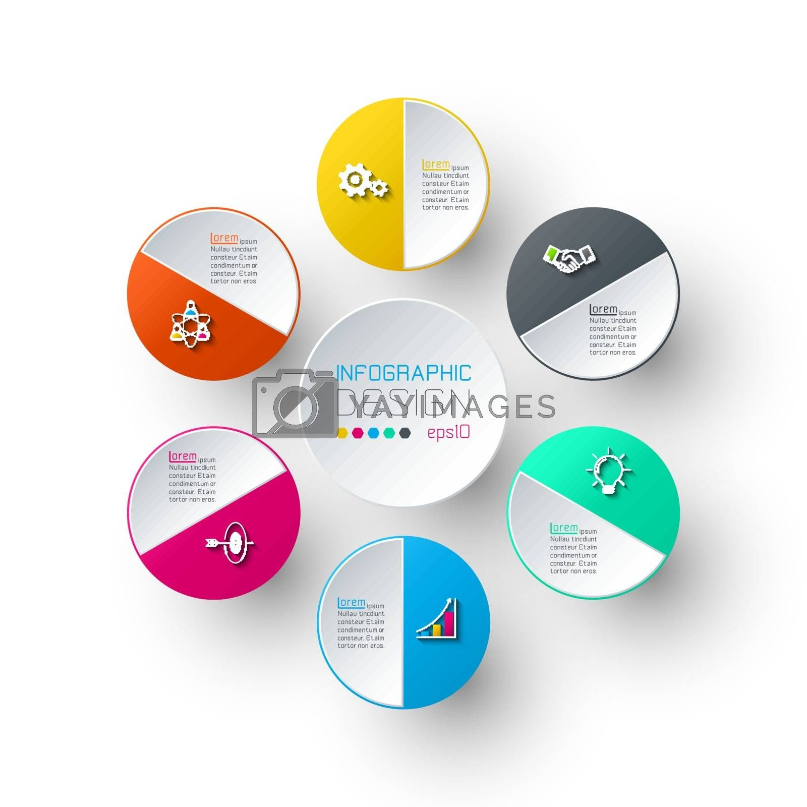 Six circles with business icon infographics. by narinbg