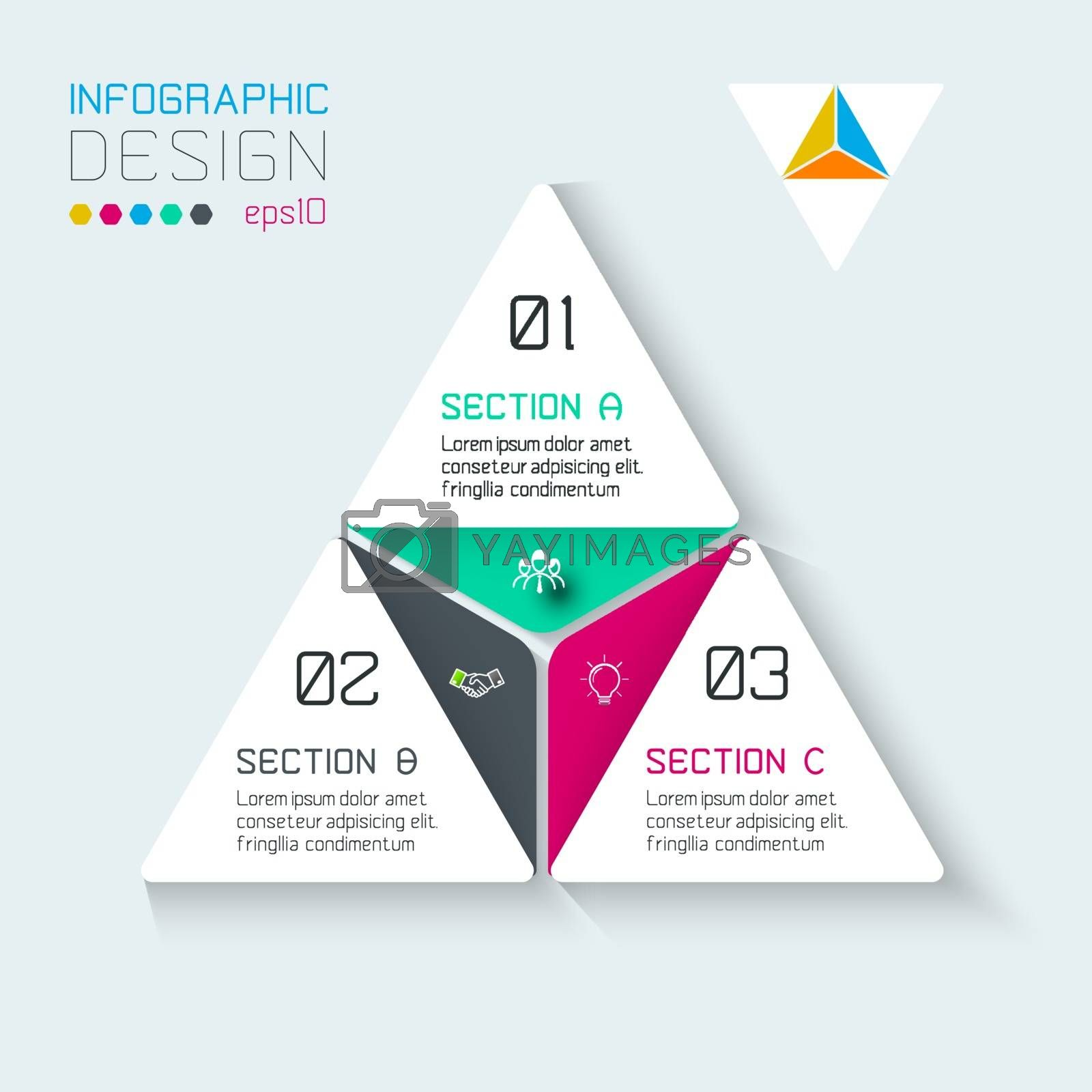 Triangle infographics on vector graphic art. by narinbg