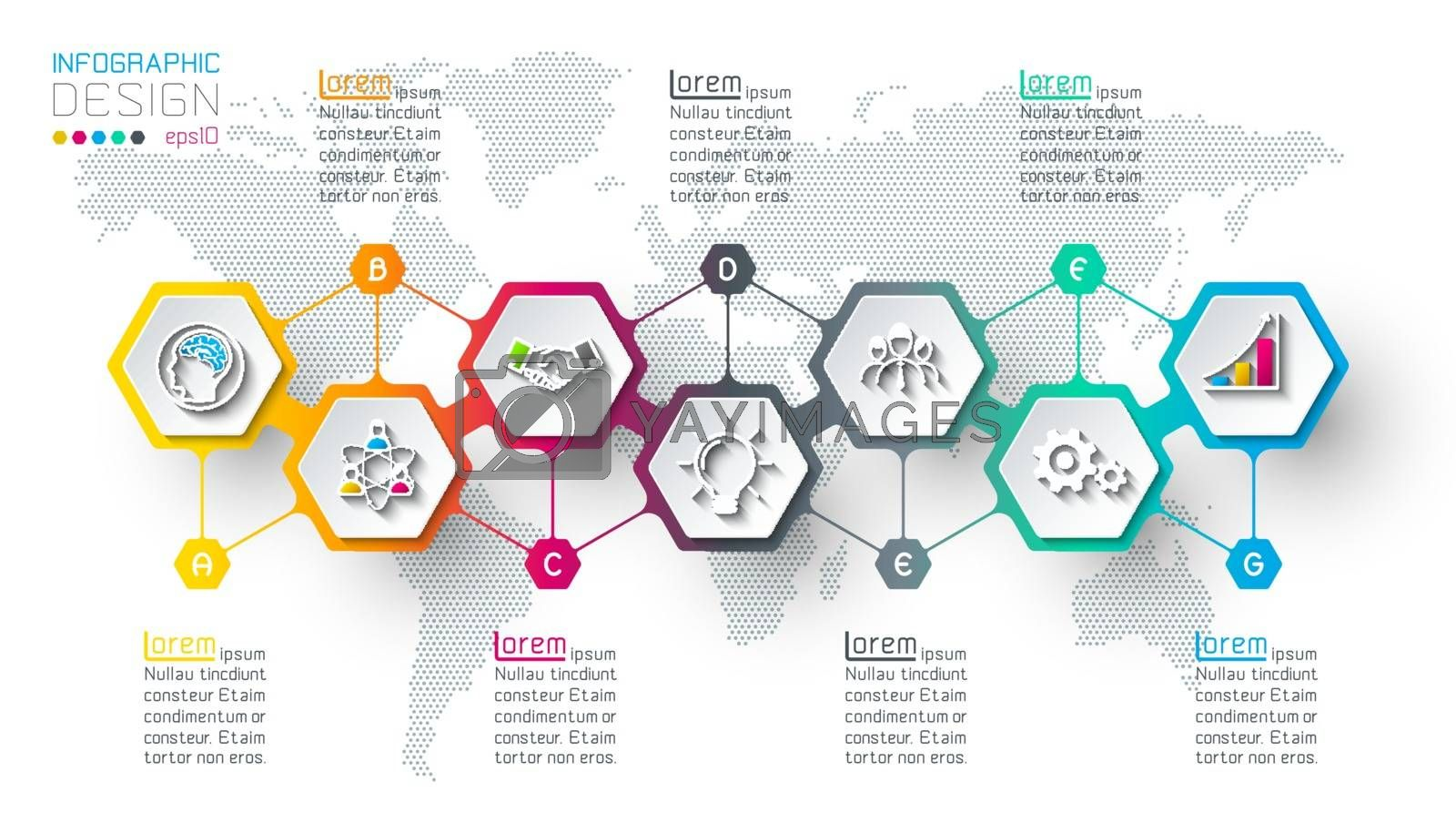 Hexagon inforgraphics on vector graphic art. by narinbg