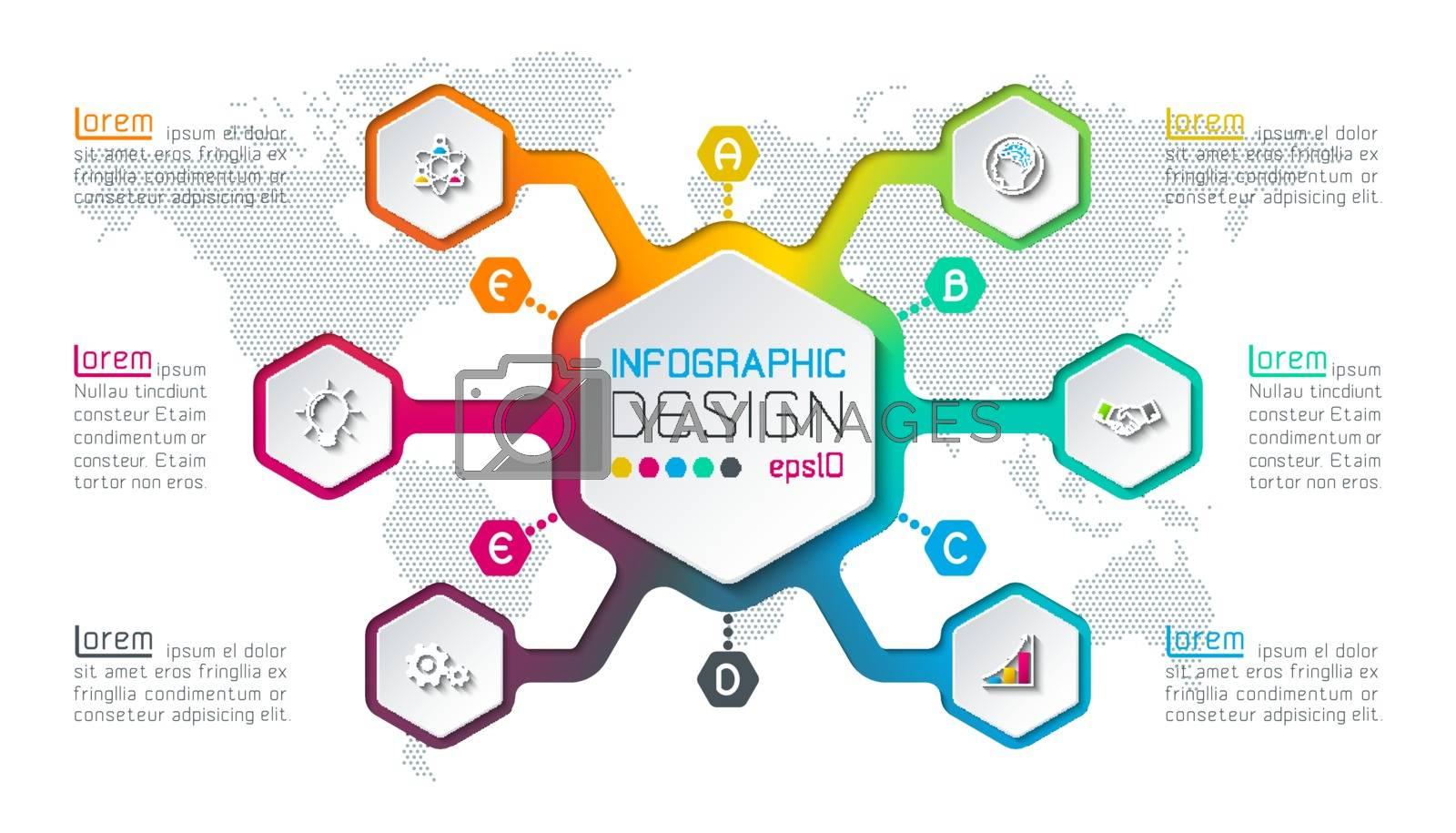 Hexagon inforgraphics on vector graphic art. by narinbg