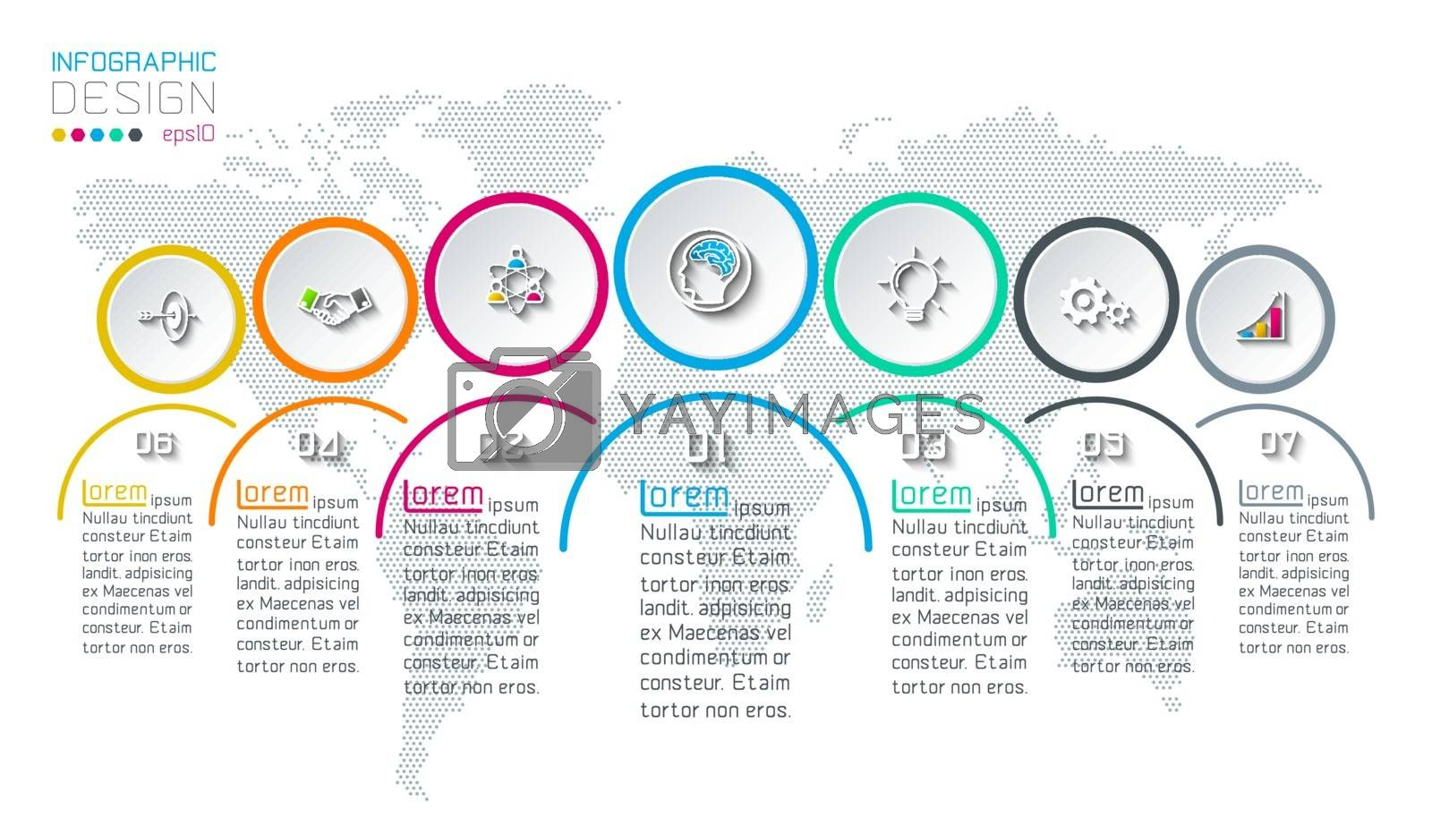 Seven circles with business icon infographics on world map background.