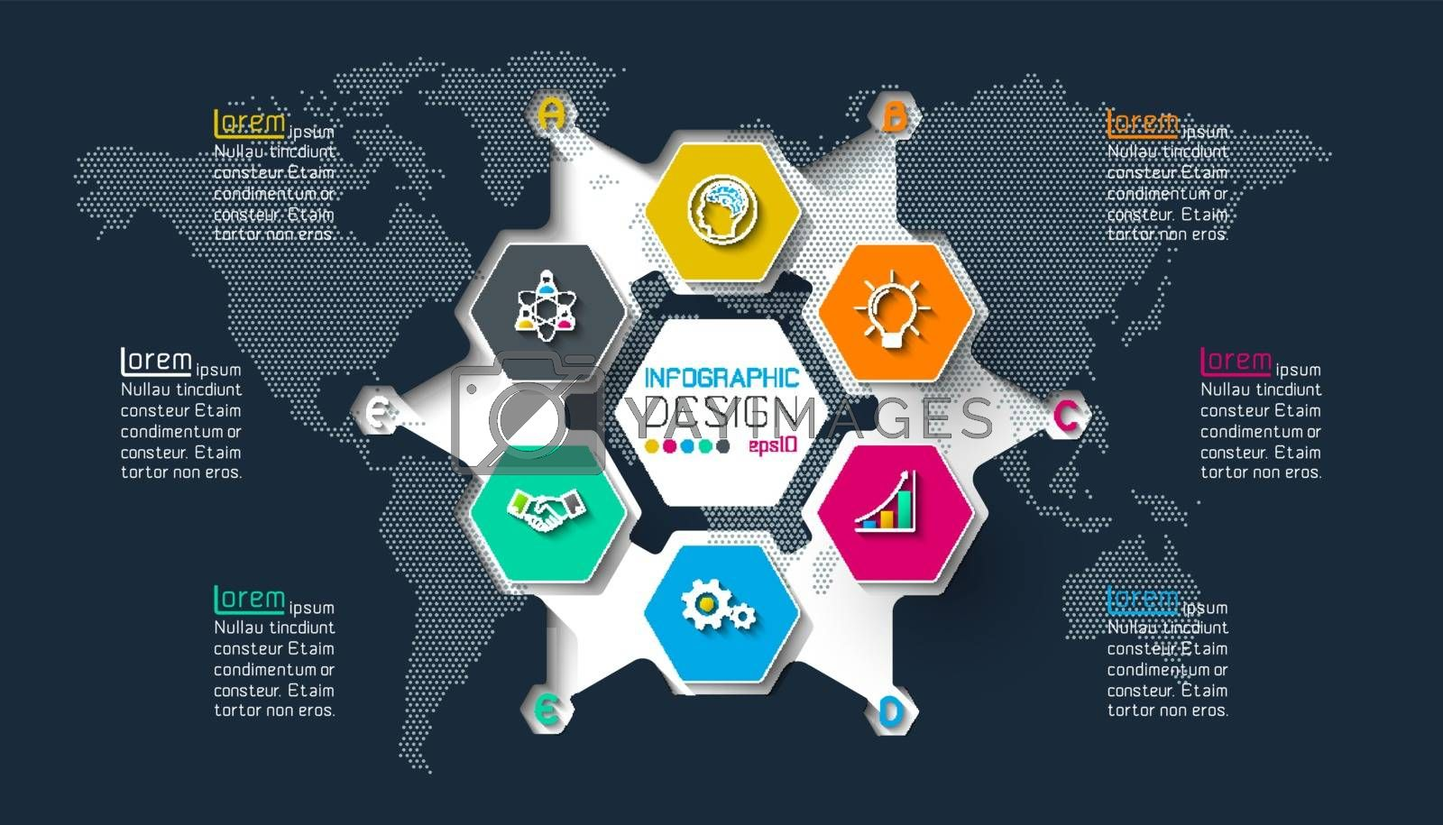Business hexagon labels shape infographic on circle. by narinbg