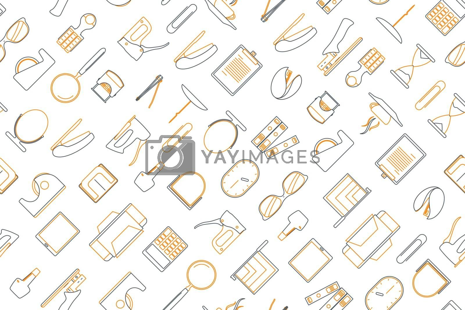 Clip art of office elements arrange on seamless background. by narinbg