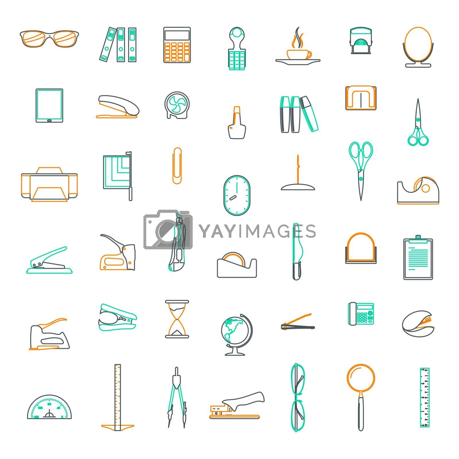 Vector line icons Set in flat design office and business with elements for mobile concepts and web apps.