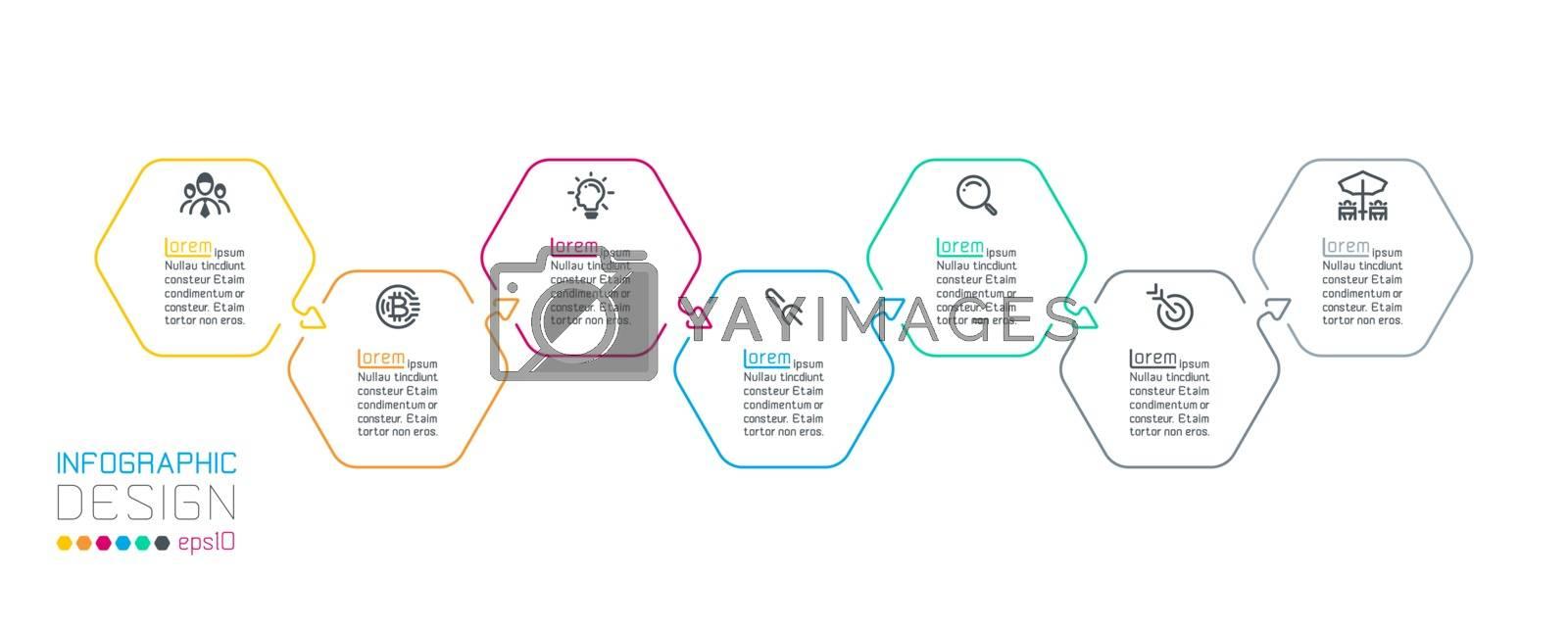 Hexagon inforgraphics on vector graphic art.