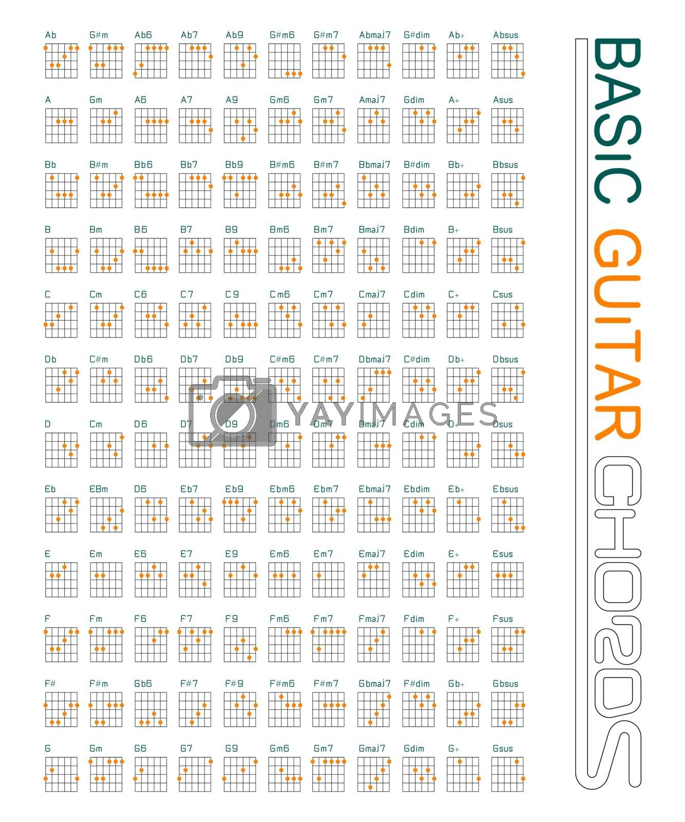 Guitar chords set on vector graphic art.