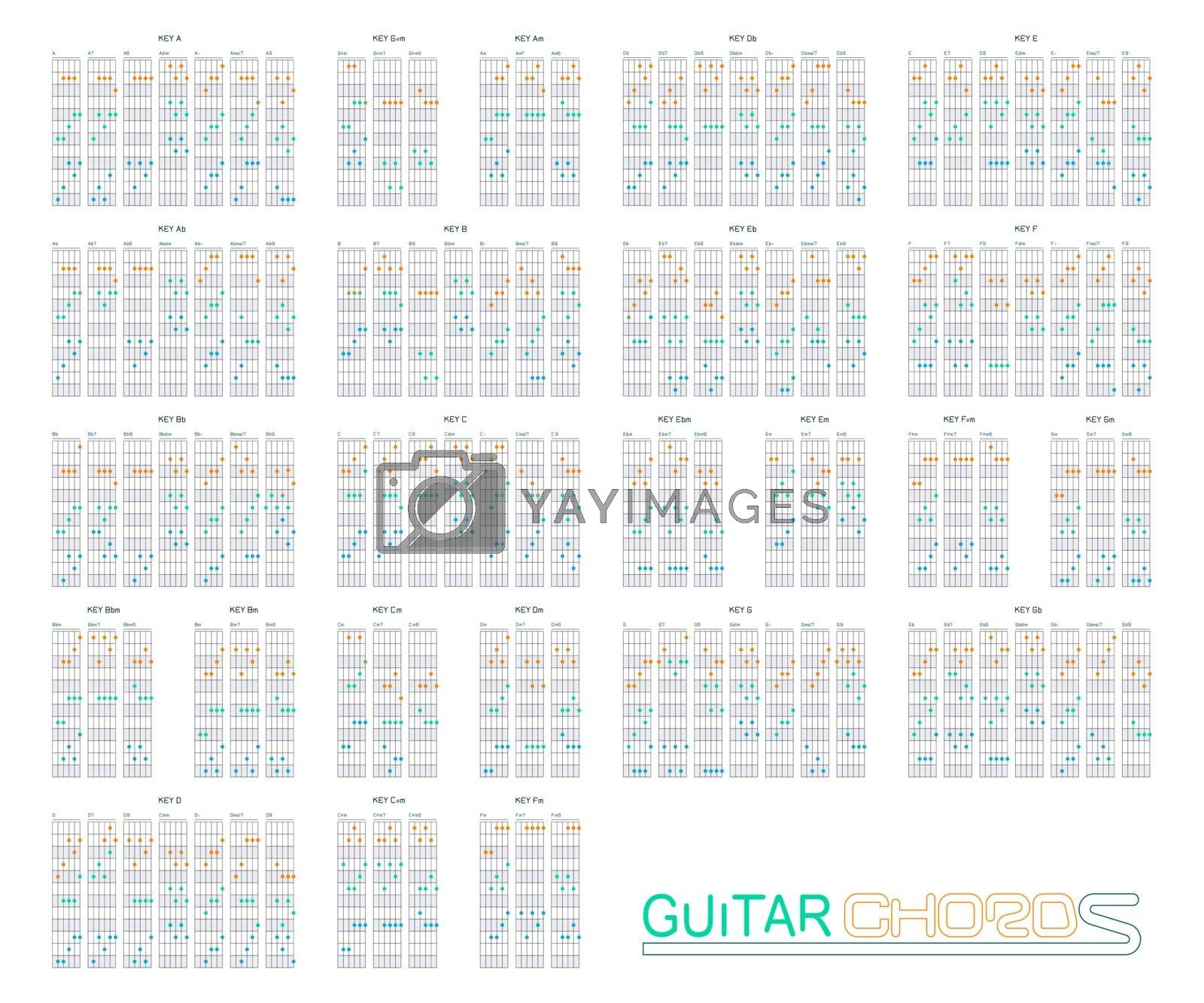 Guitar chords set on vector graphic art. by narinbg