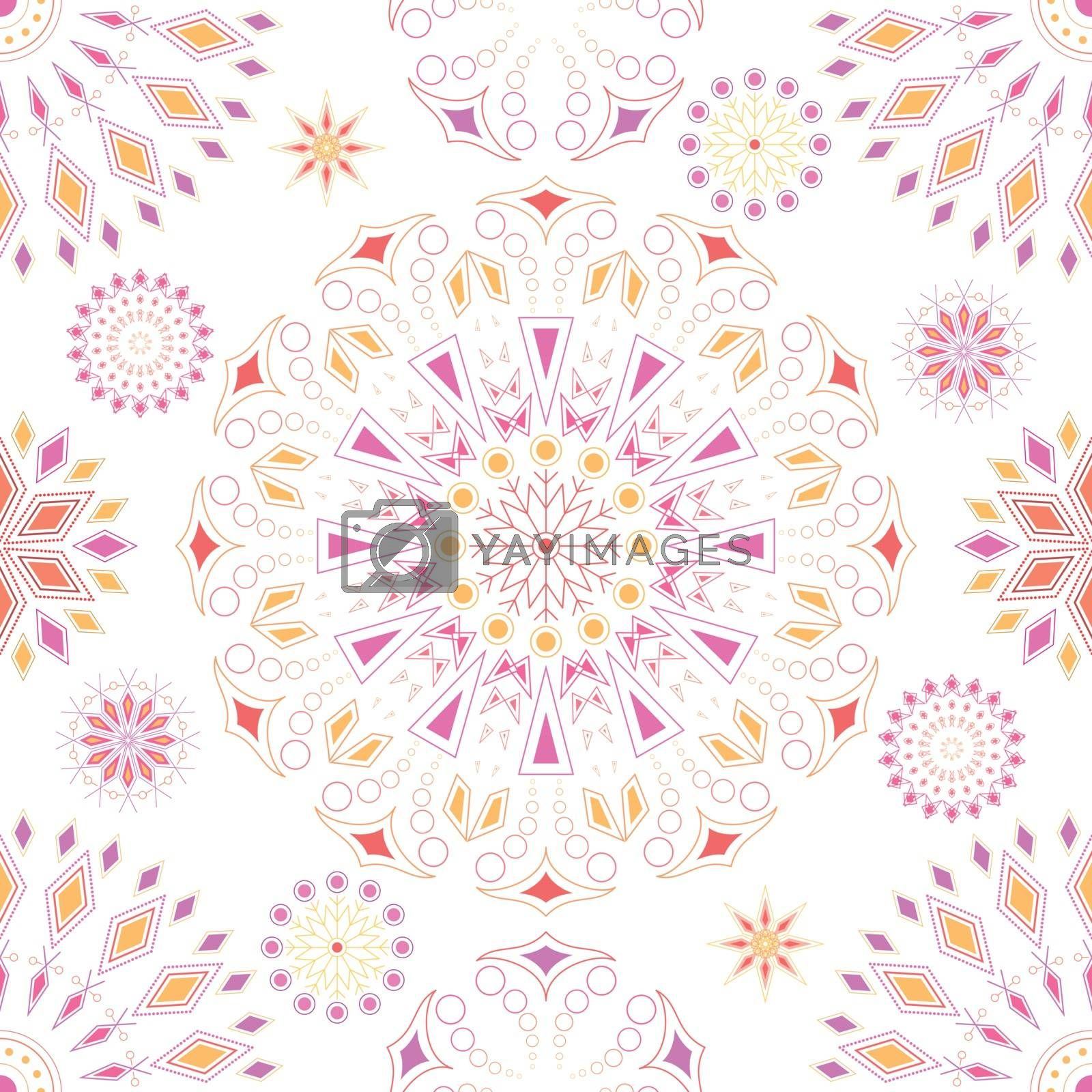 Rectangular beautiful repeating colorful ornament for design and background.
