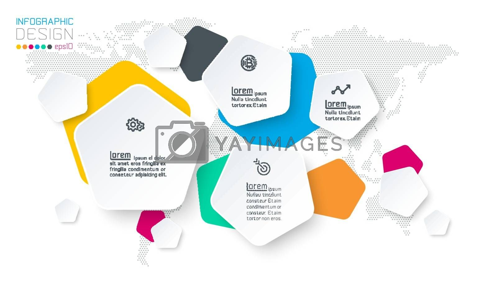 Pentagons label infographic with 4 steps.