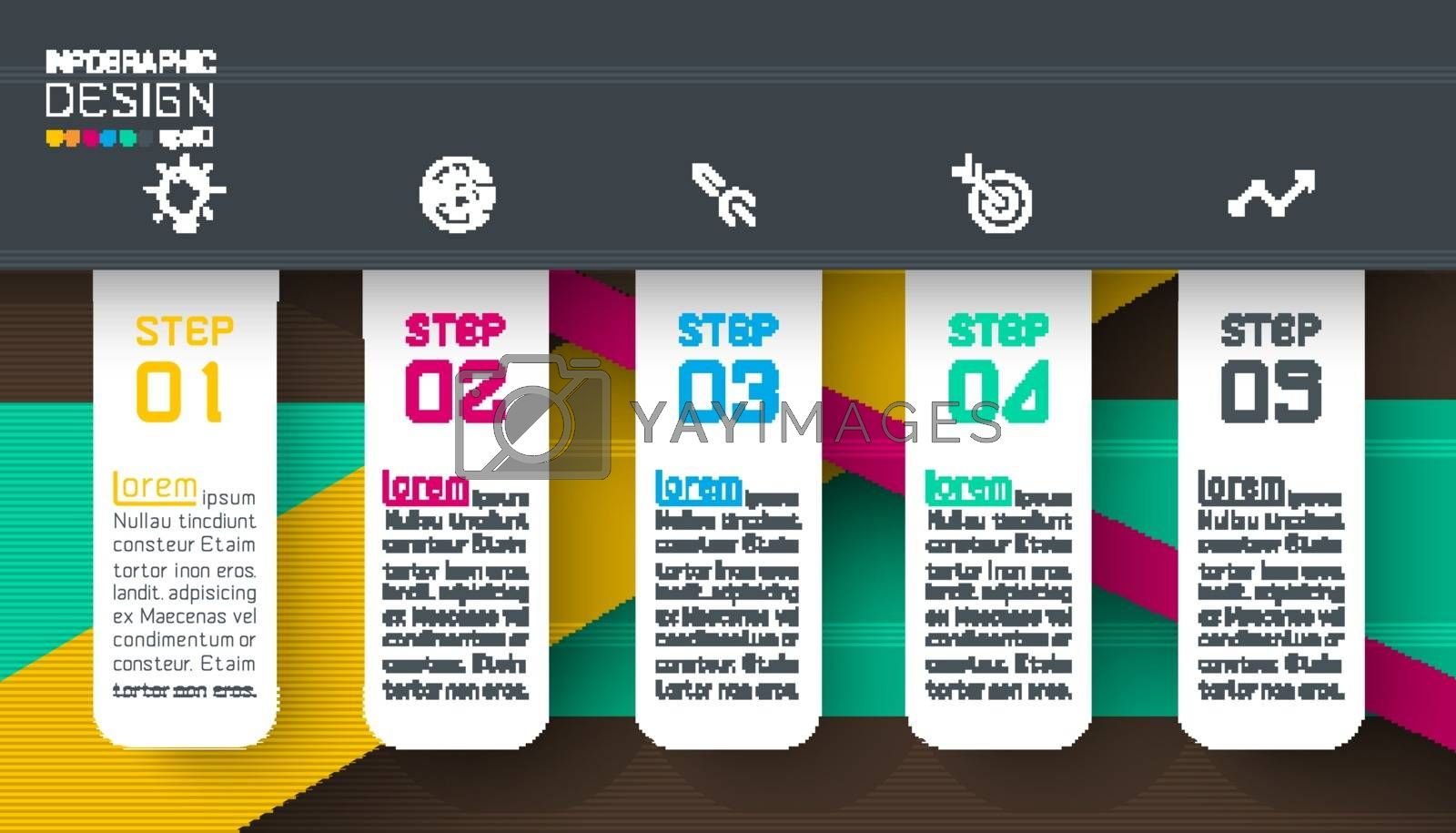 infographics on dark color layers abstract vector background.