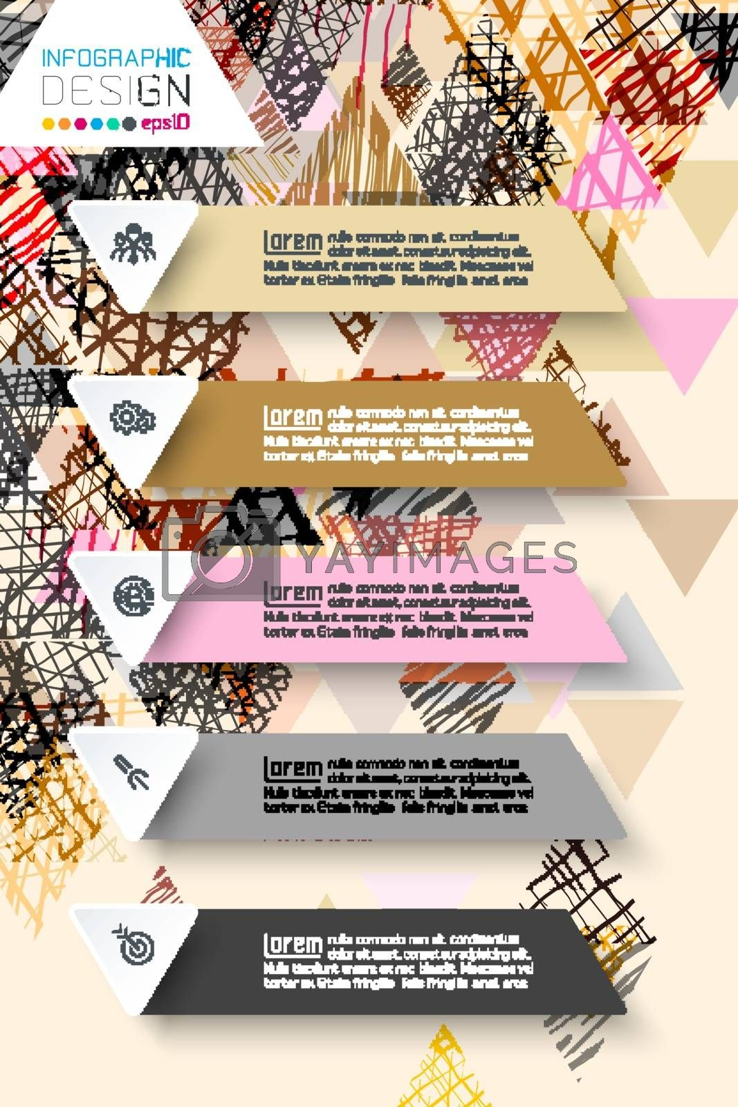 Infographics design on doodle abstract background in pastel tone. by narinbg