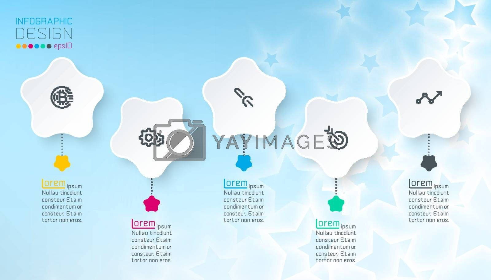 White star infographics with blue abstract background