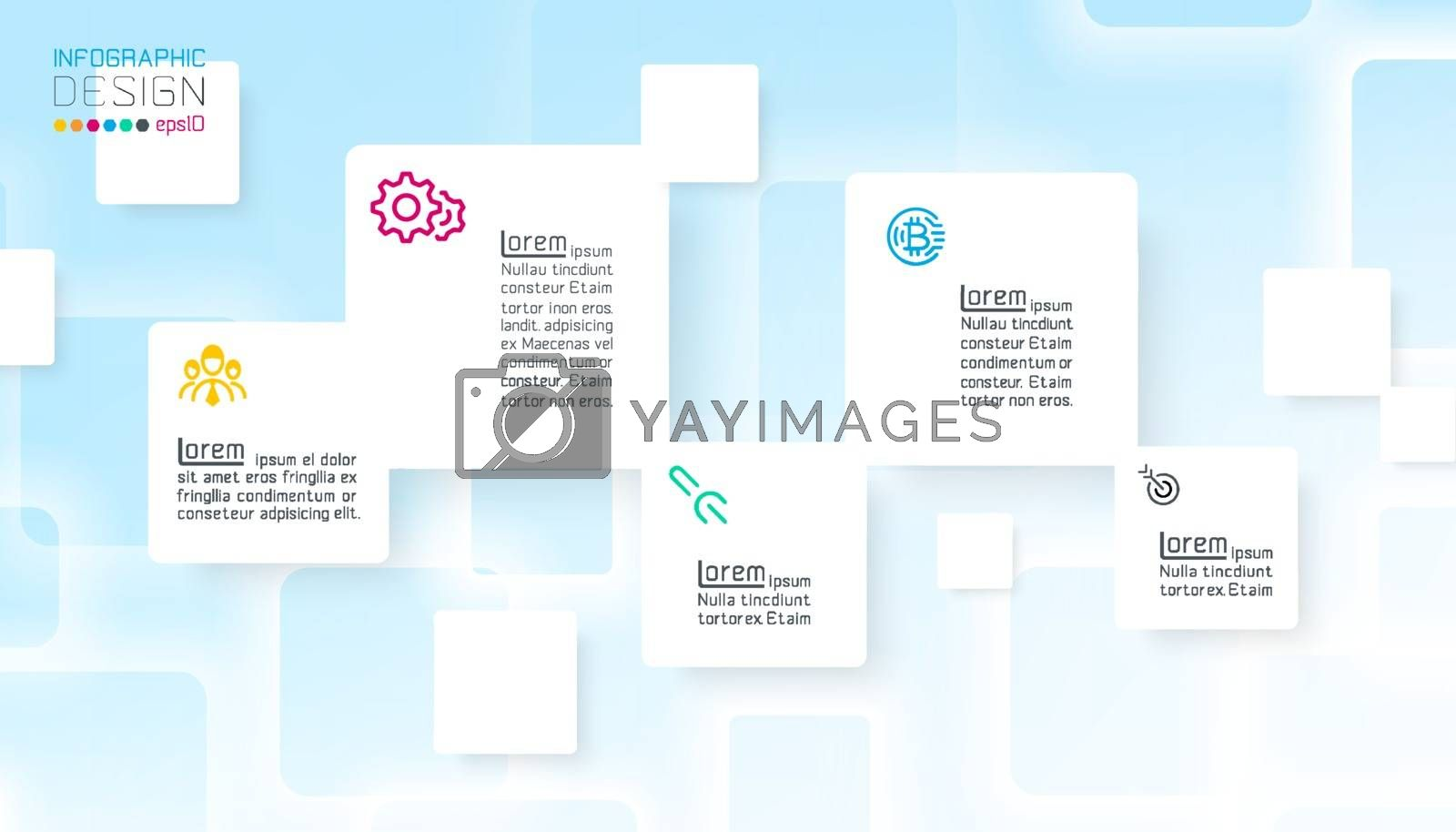 Square infographics on blue abstract background