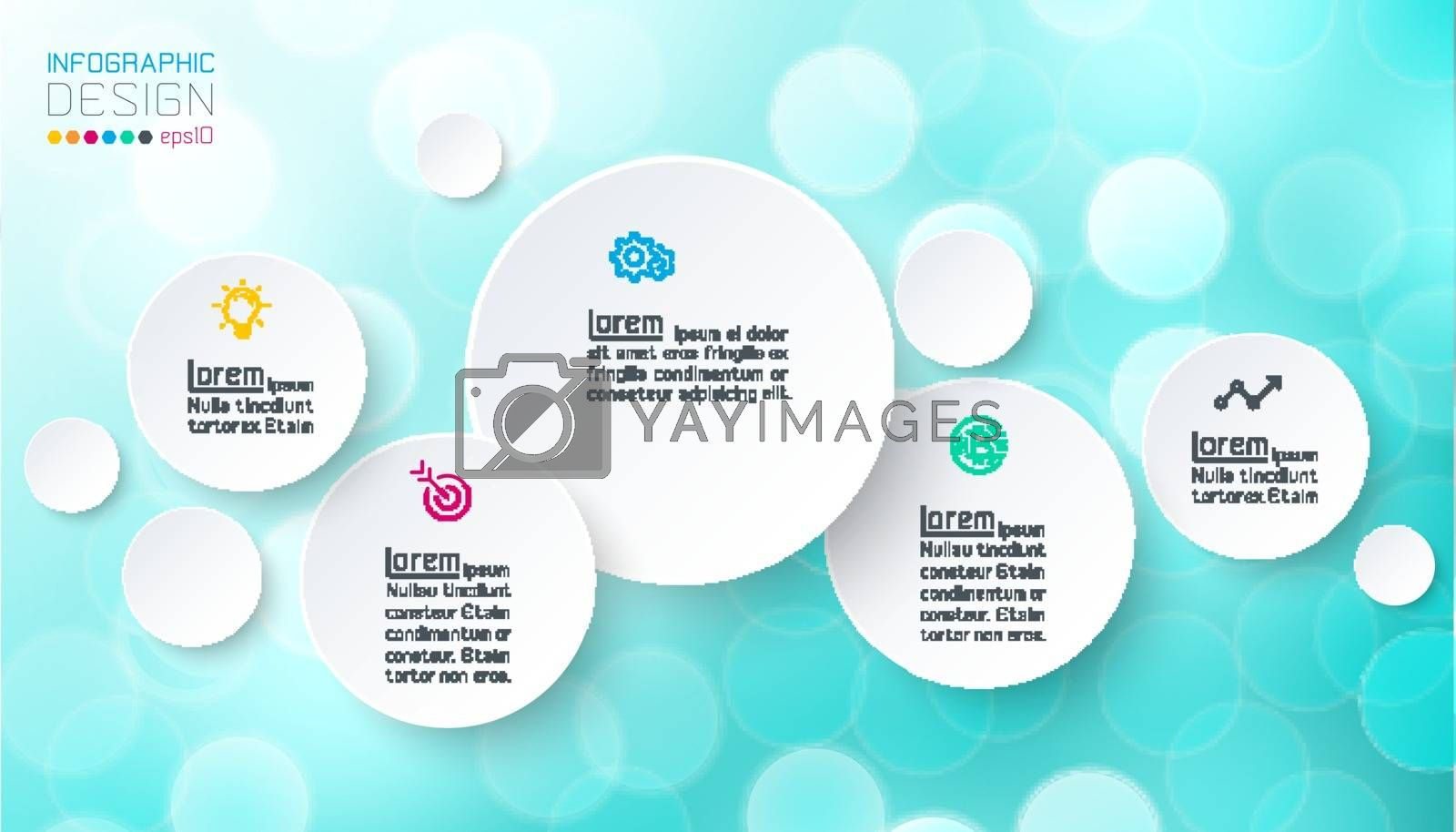 Circles infographics with bubbles soap on pink background. by narinbg