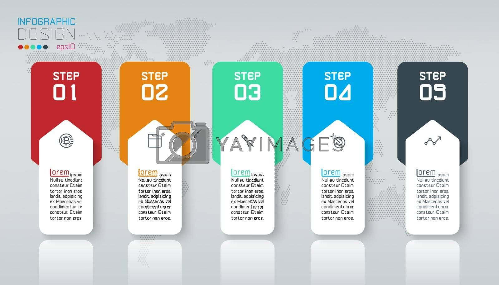Business infographic with 5 steps. by narinbg