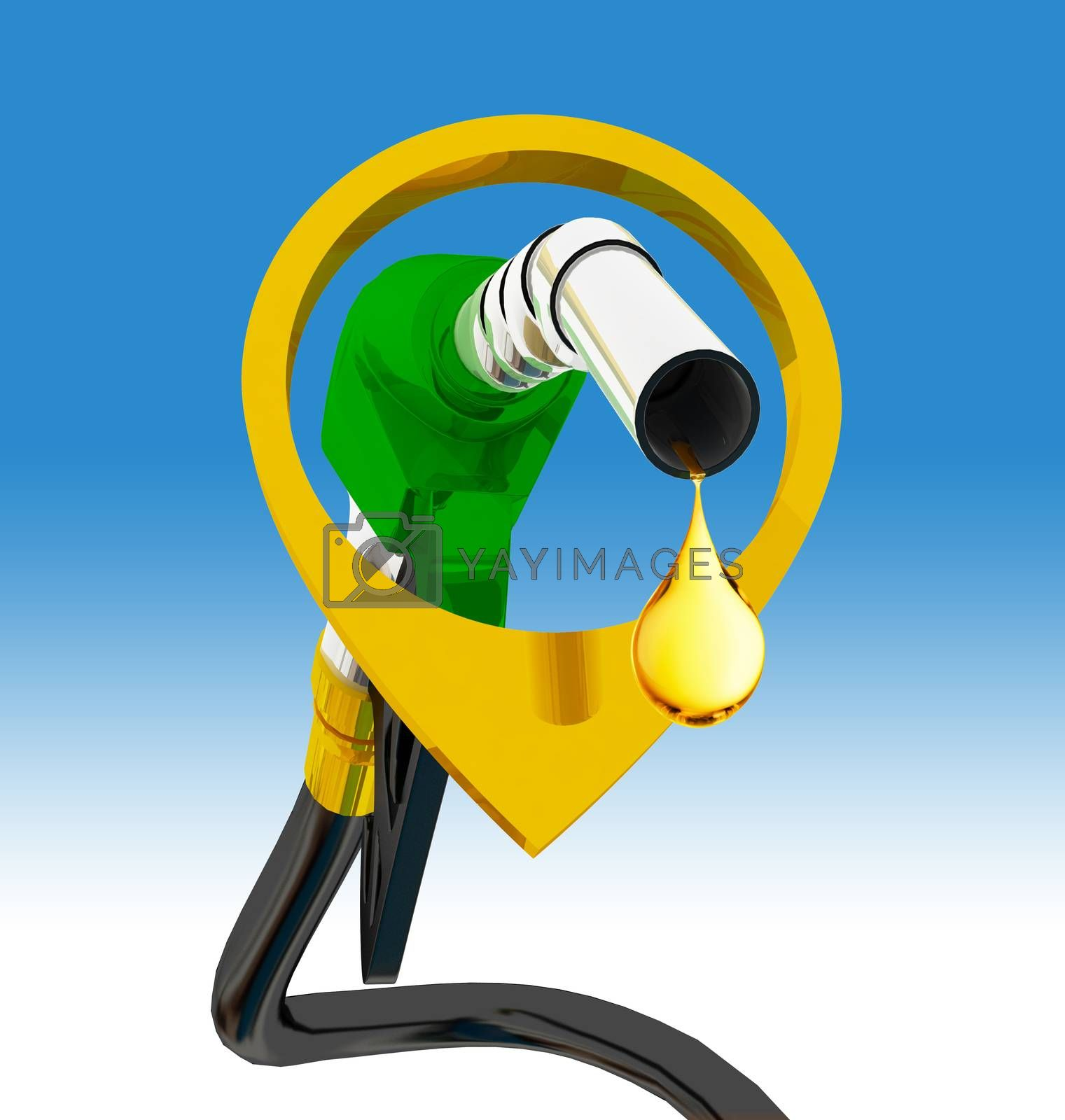 nozzle pumping gasoline in a tank, of fuel nozzle pouring gasoline over white background, nozzle pumping a gasoline fuel liquid in a tank of oil industry,