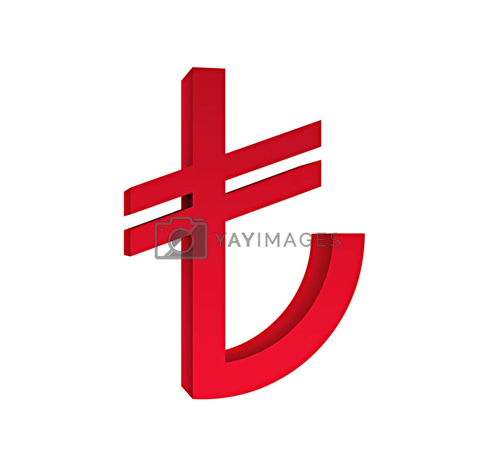 d tl symbol turkish liras isolated.
