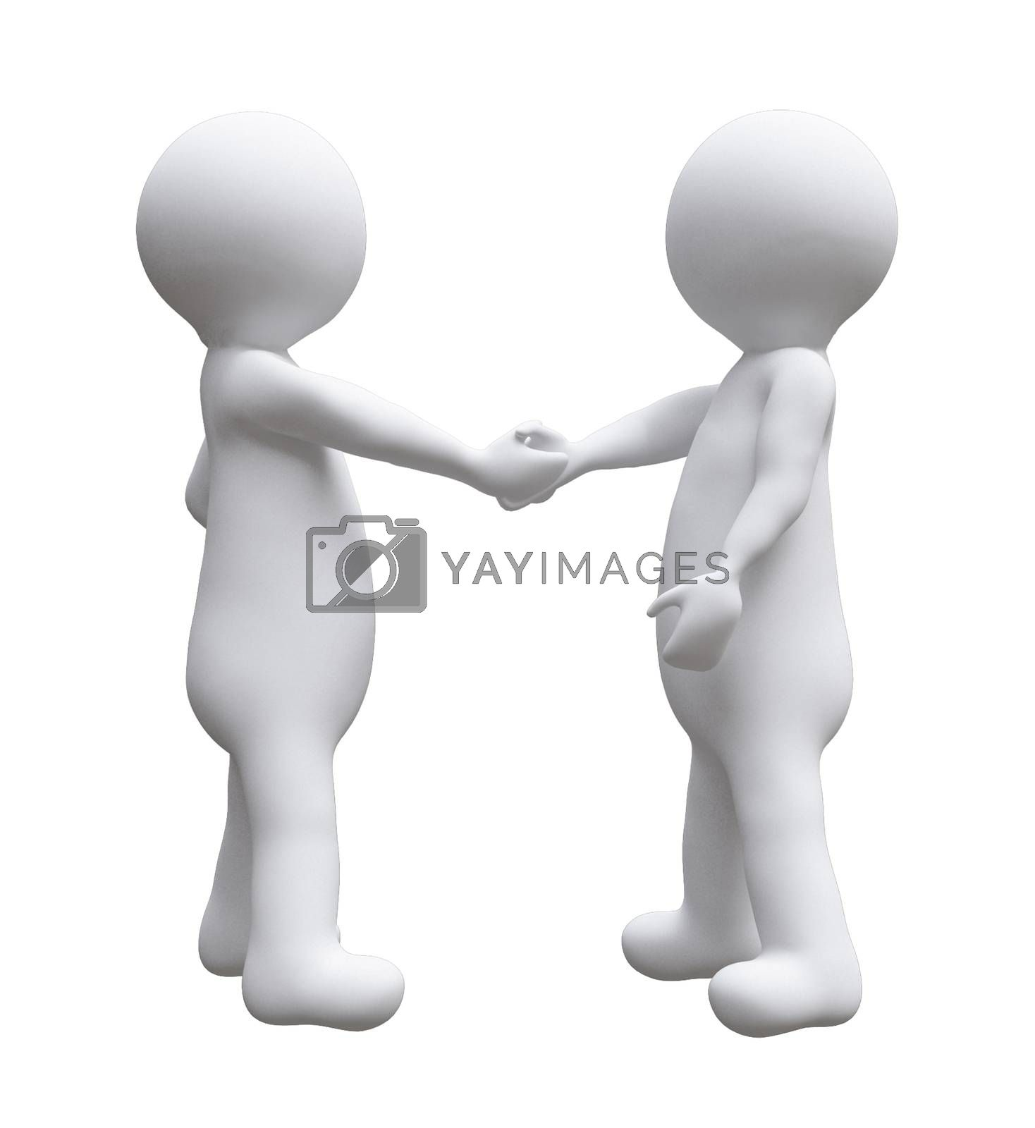 two business men shaking hands illustration d small people isolated white background. 3D illustration.