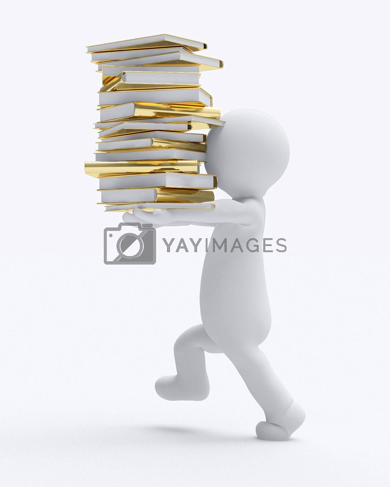 d small people carrying books d image isolated white background. 3D illustration.
