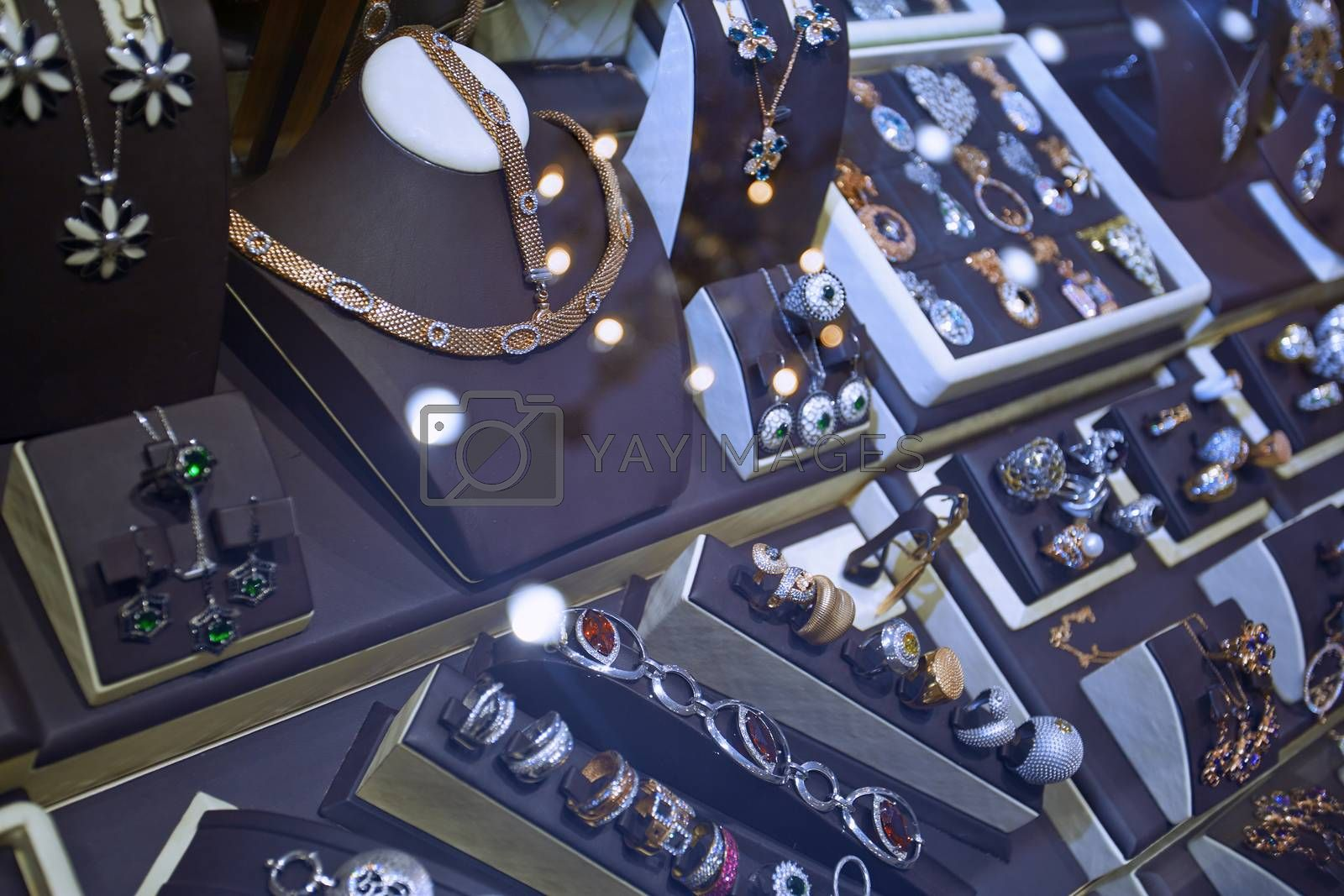 Jewelry shop. Close-up view on showcase
