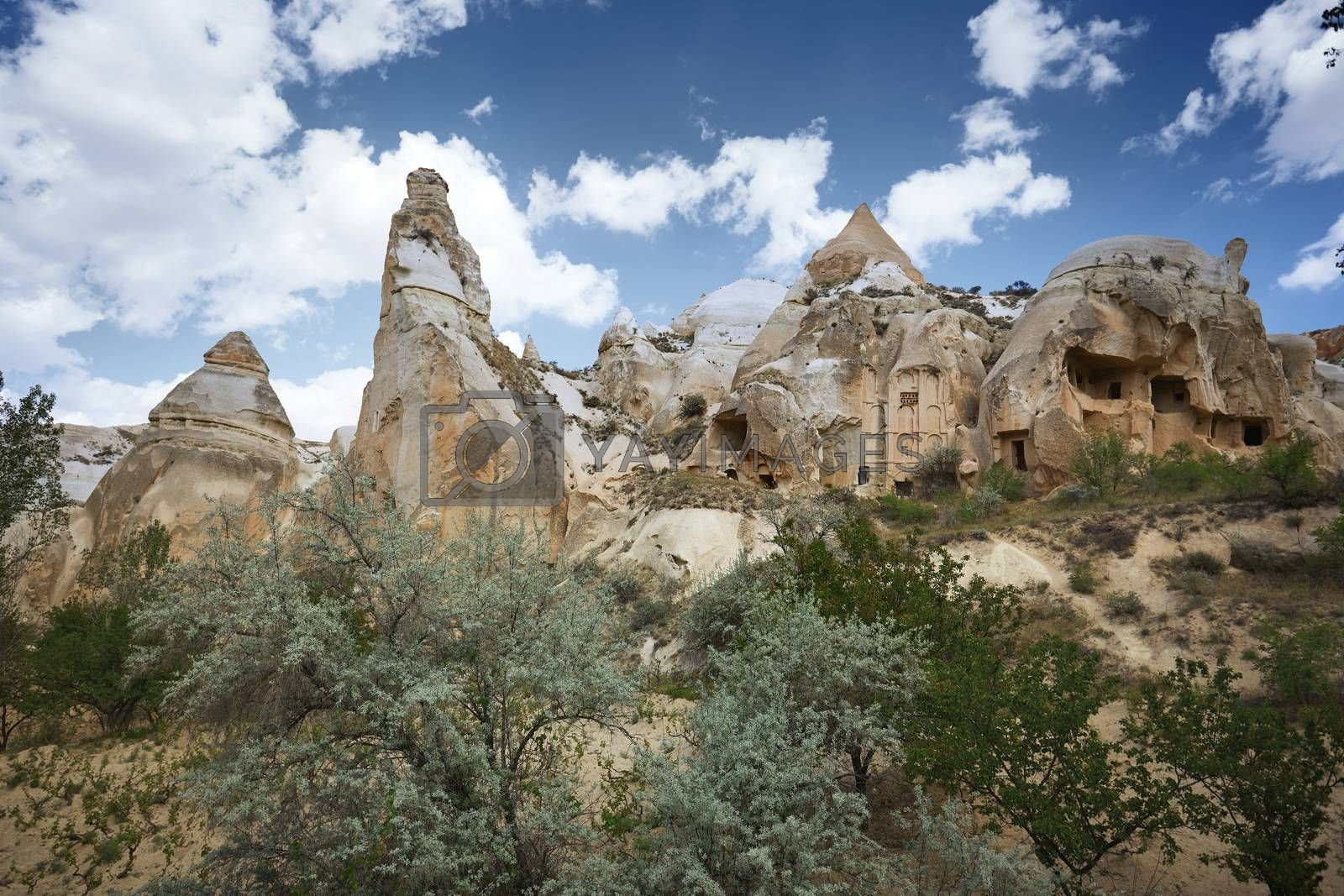 Ancient stone houses of Cappadocia, Turkey