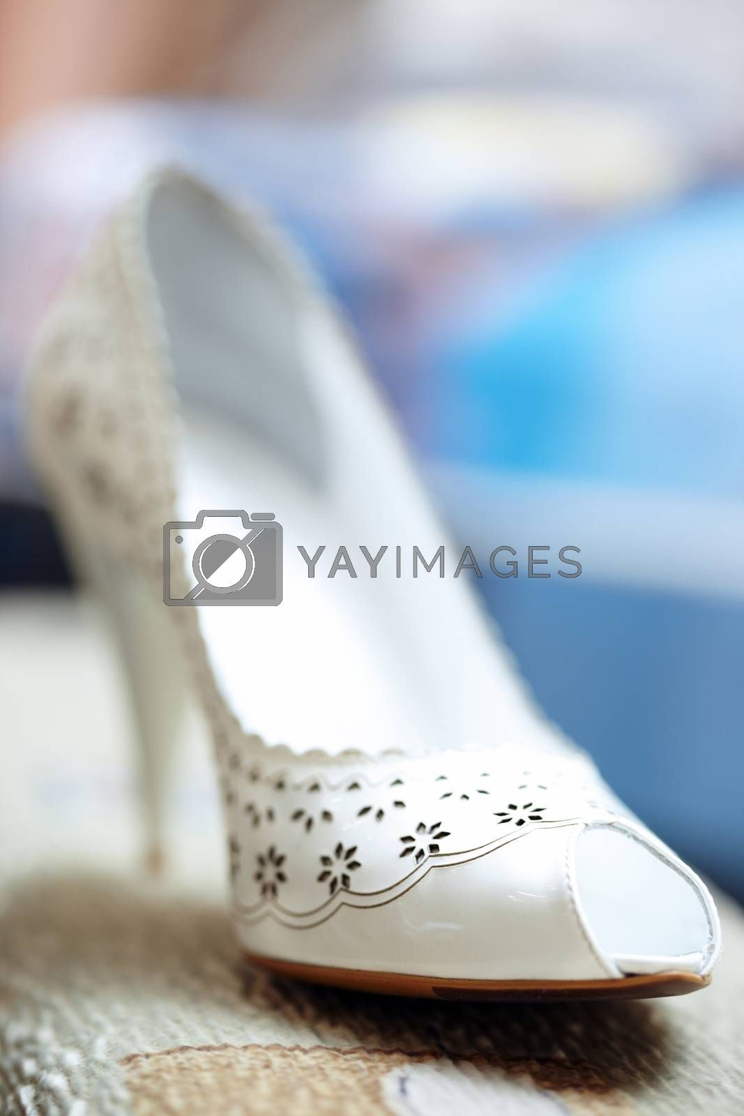 White woman shoe indoors. Natural colors and light