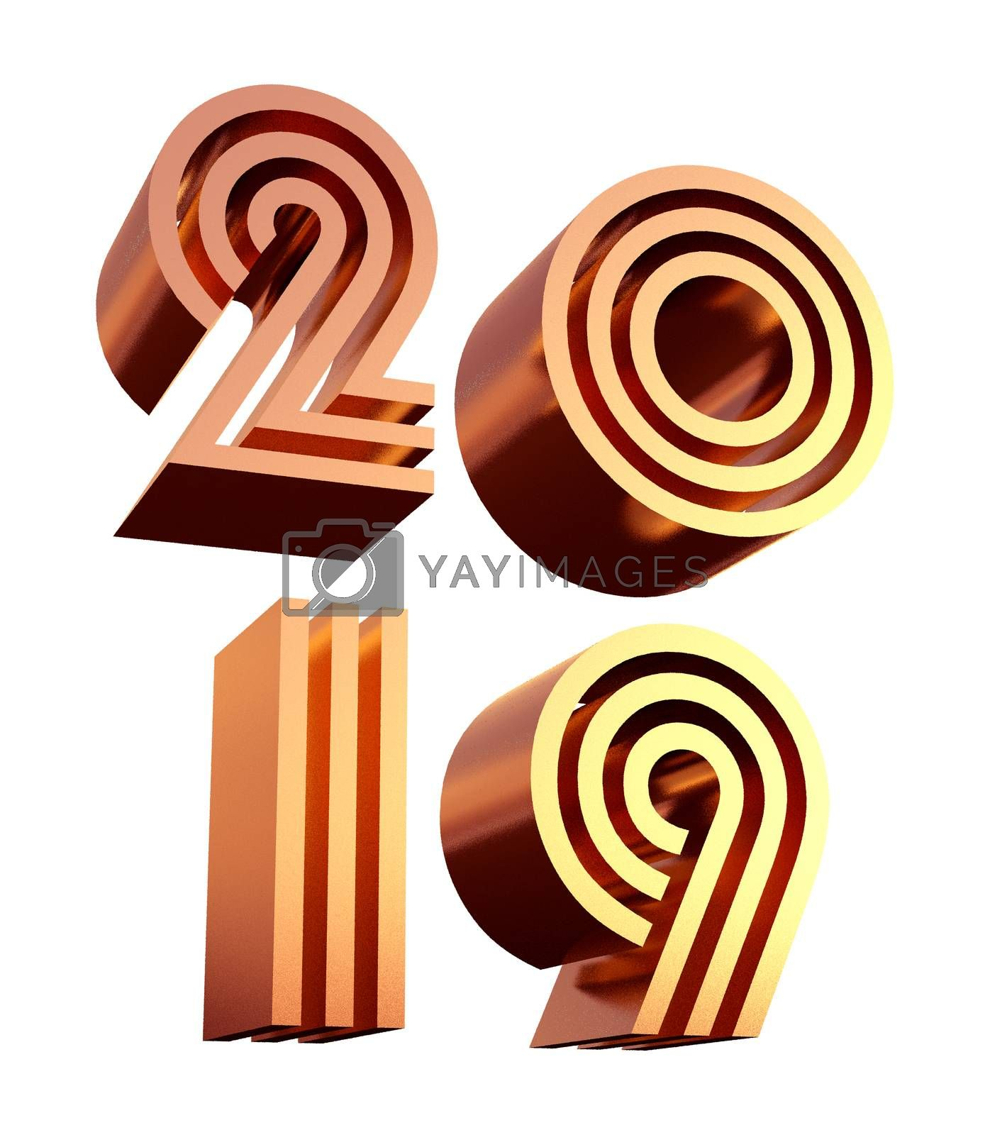 2019 bold letters d illustration. by hakan kacar