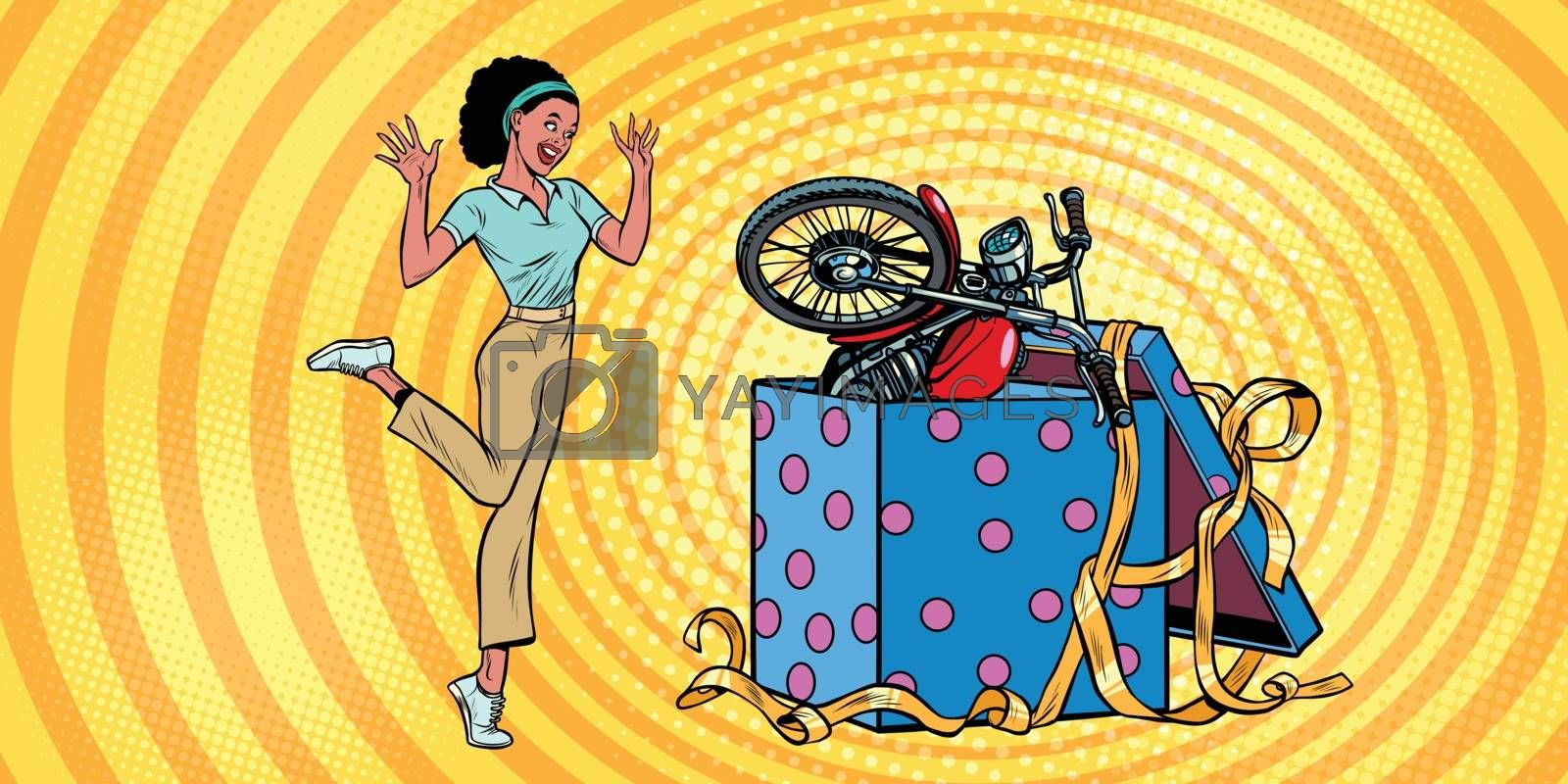 motorcycle holiday gift box. African woman funny reaction joy. Pop art retro vector illustration vintage kitsch 50s 60s