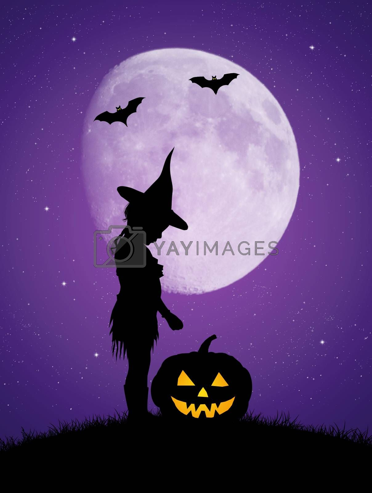 illustration of girl with pumpkin on Halloween