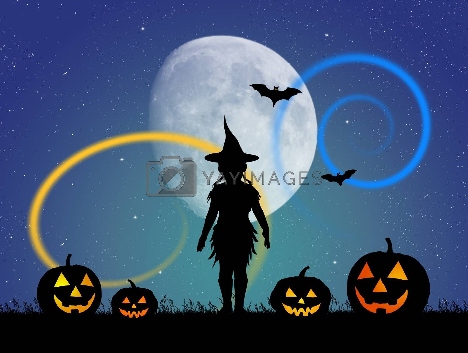 illustration of girl with Halloween pumpkins